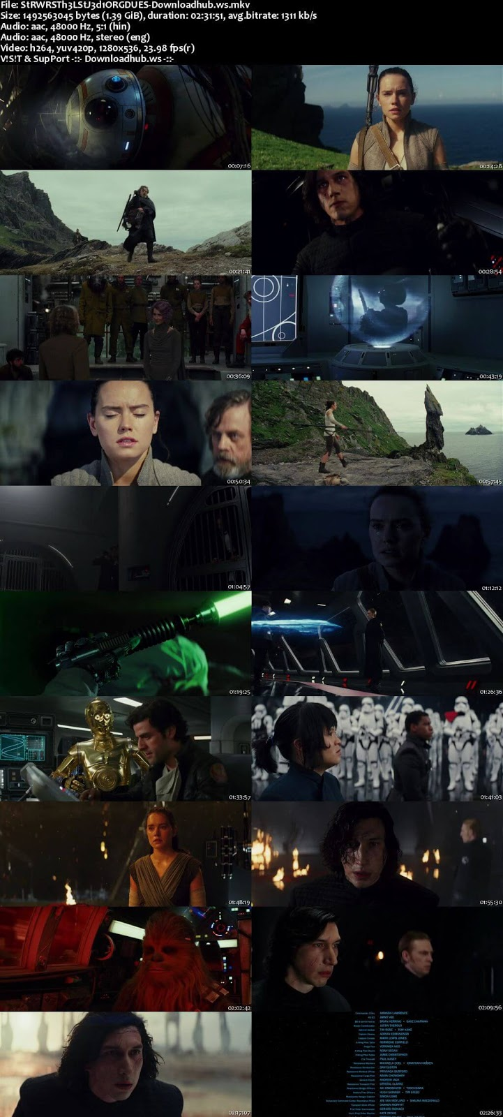Star Wars The Last Jedi 2017 Hindi Dual Audio 720p BluRay Free Download