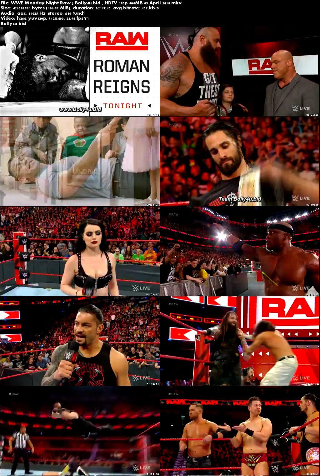WWE Monday Night Raw HDTV 480p 400MB 09 April 2018 Download