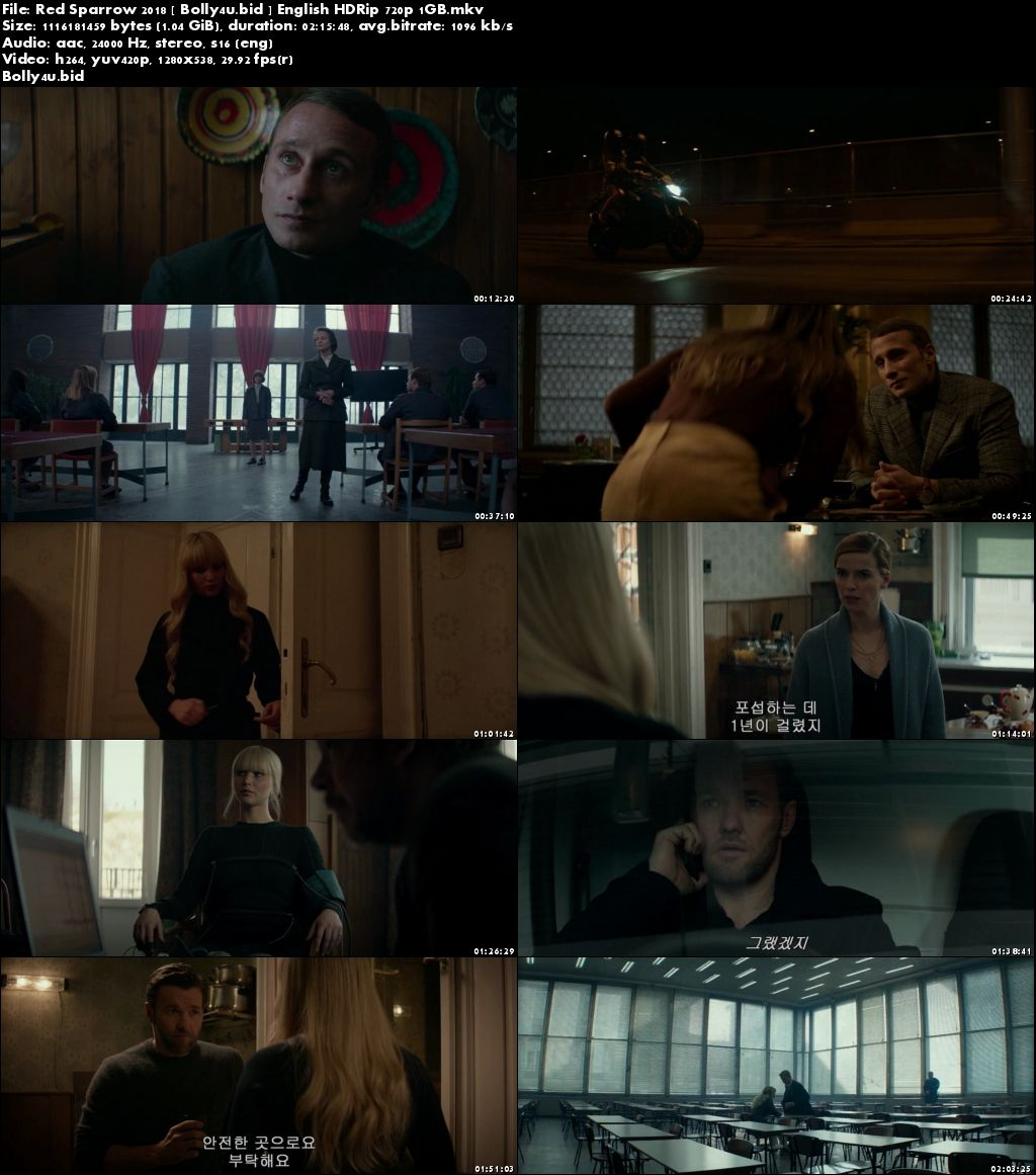Red Sparrow 2018 HDRip 400MB English 480p Download