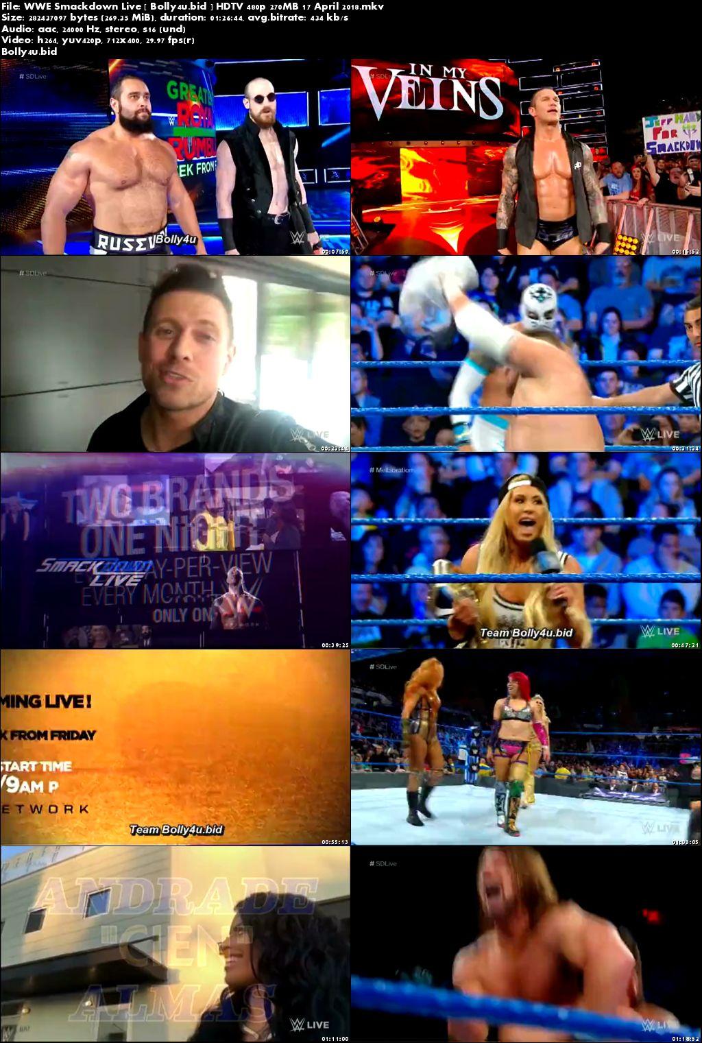 WWE Smackdown Live HDTV 480p 250MB 18 April 2018 Download