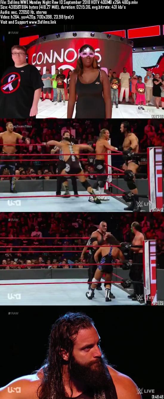 WWE Monday Night Raw 10 September 2018 HDTV 480p