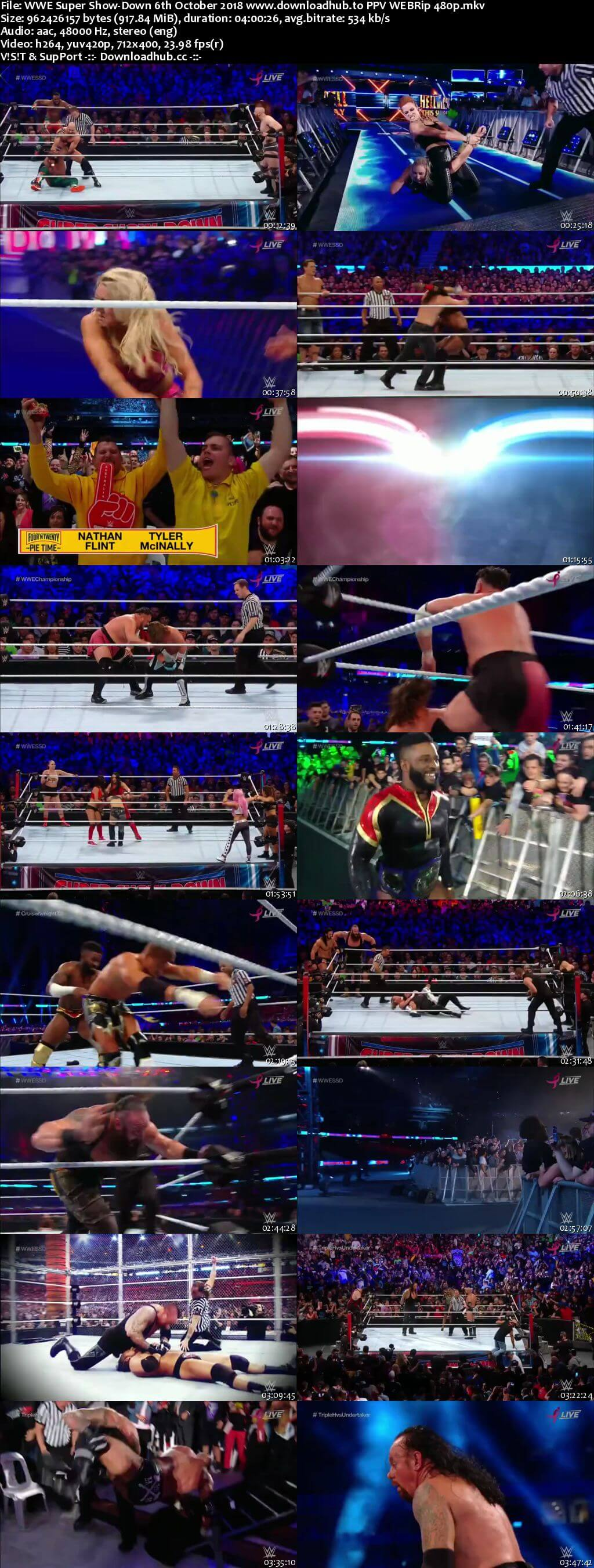 WWE Super Show Down 6th October 2018 900MB PPV WEBRip 480p