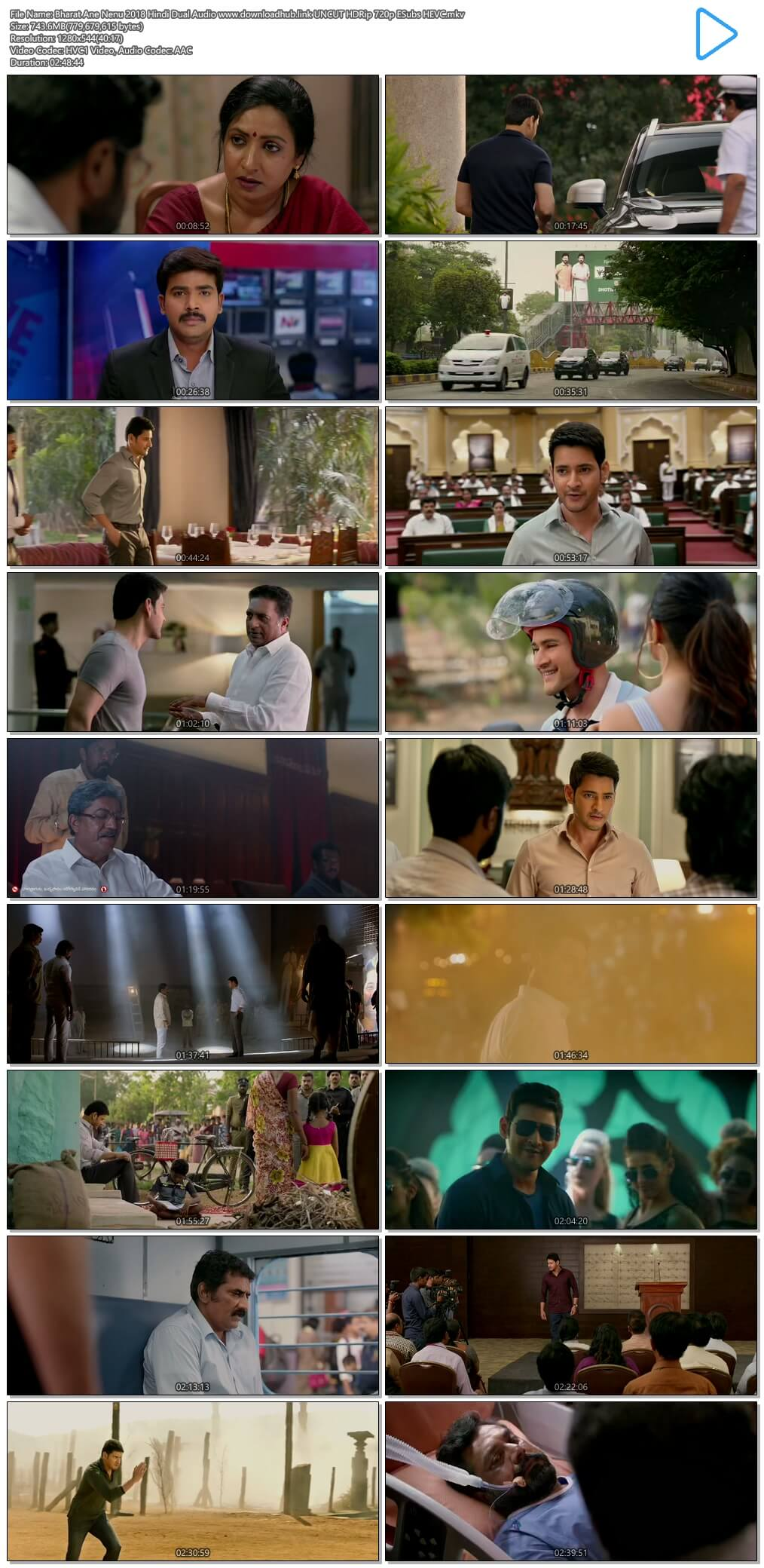Bharat Ane Nenu 2018 Hindi Dual Audio 750MB UNCUT HDRip 720p ESubs HEVC