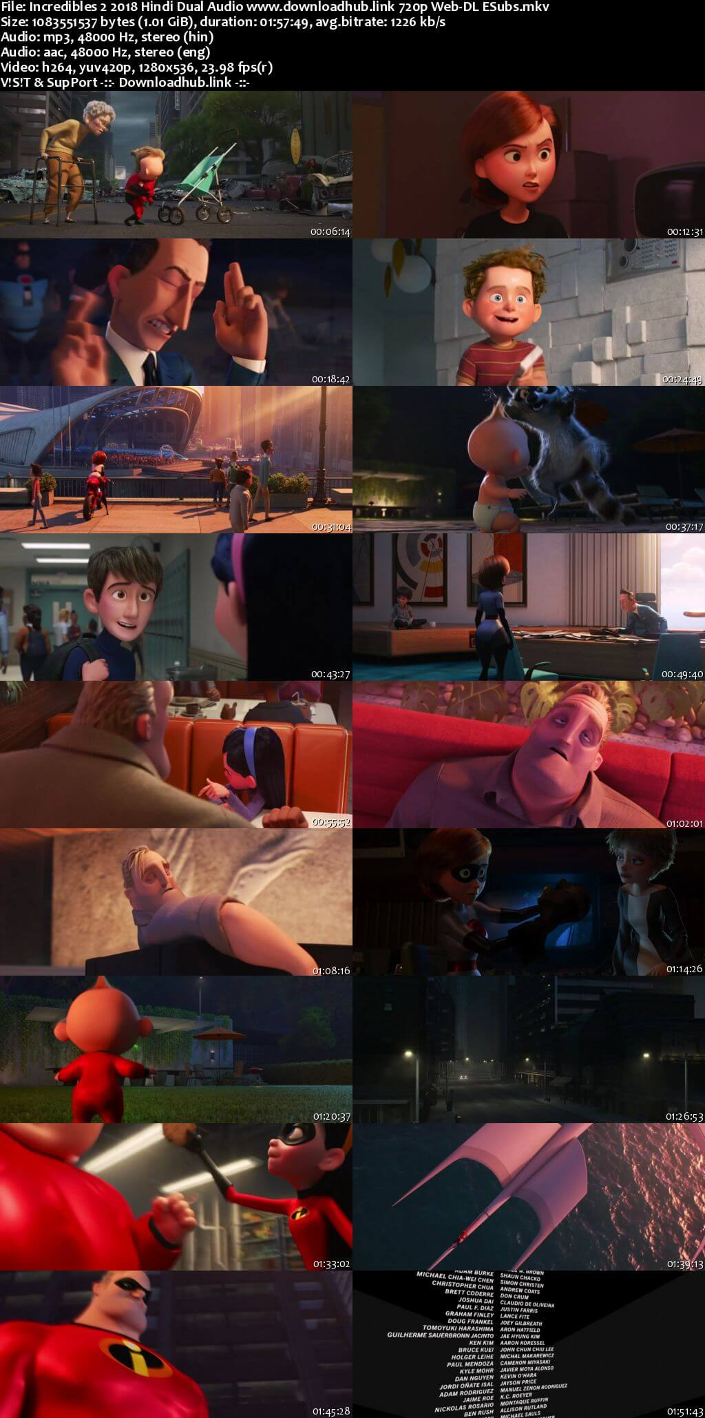 Incredibles 2 2018 Hindi Dual Audio 720p Web-DL ESubs