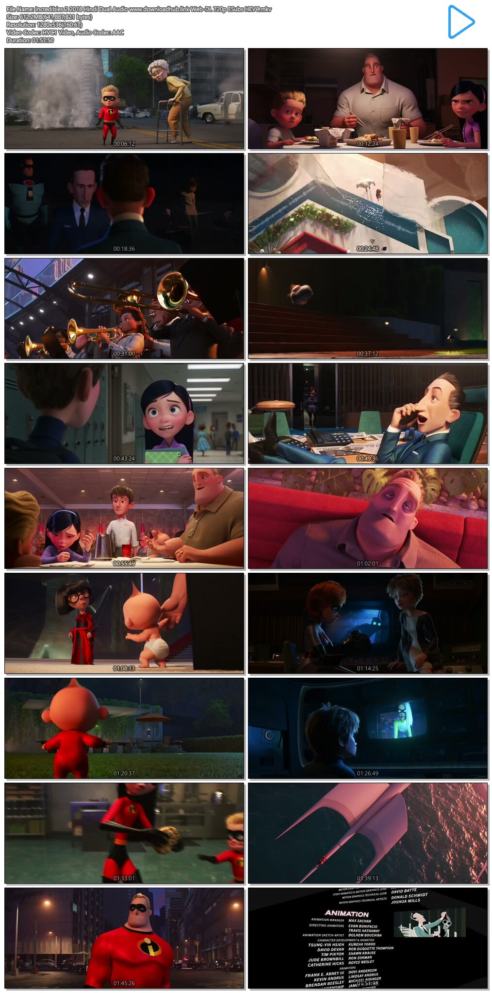 Incredibles 2 2018 Hindi Dual Audio 600MB Web-DL 720p ESubs HEVC