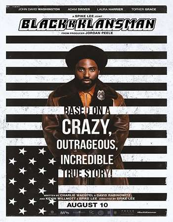 BlacKkKlansman 2018 Hindi ORG Dual Audio 720p REMASTERED BluRay ESubs