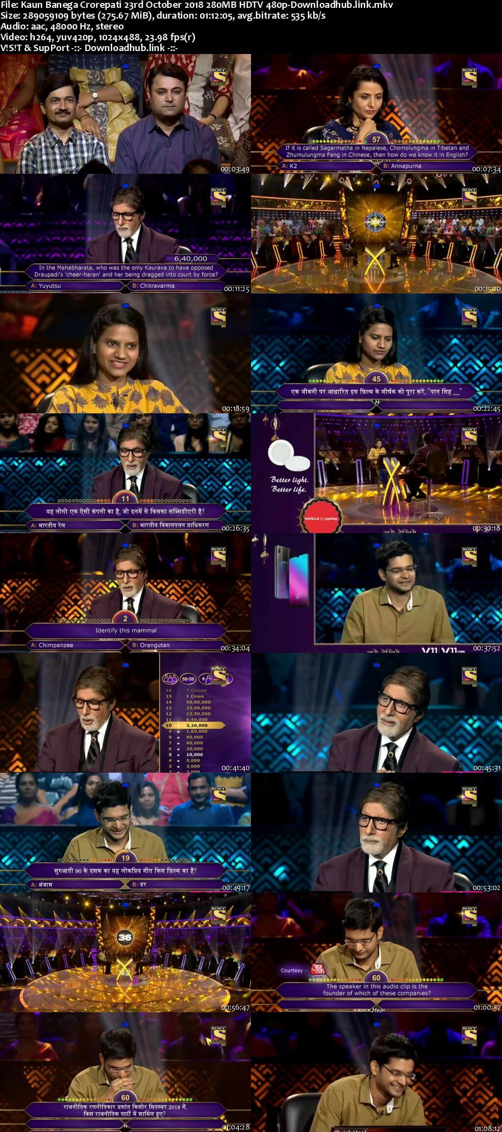 Kaun Banega Crorepati 23rd October 2018 280MB HDTV 480p