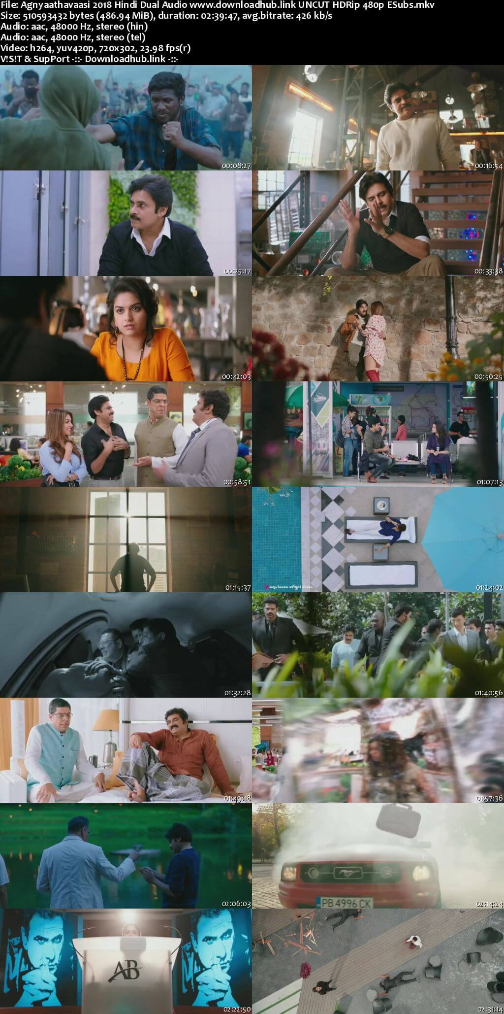 Agnyaathavaasi 2018 Hindi Dual Audio 450MB UNCUT HDRip 480p ESubs