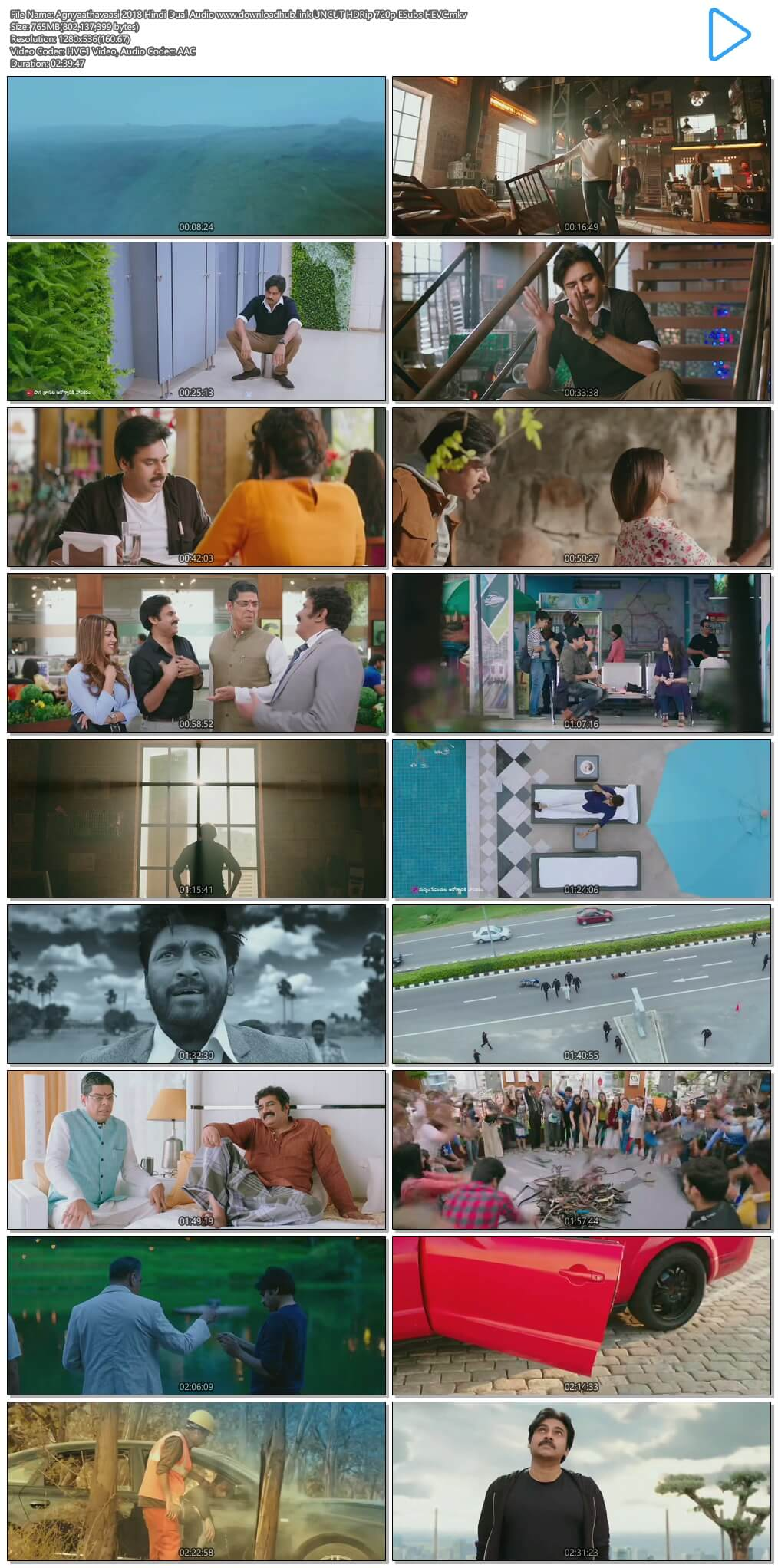 Agnyaathavaasi 2018 Hindi Dual Audio 750MB UNCUT HDRip 720p ESubs HEVC