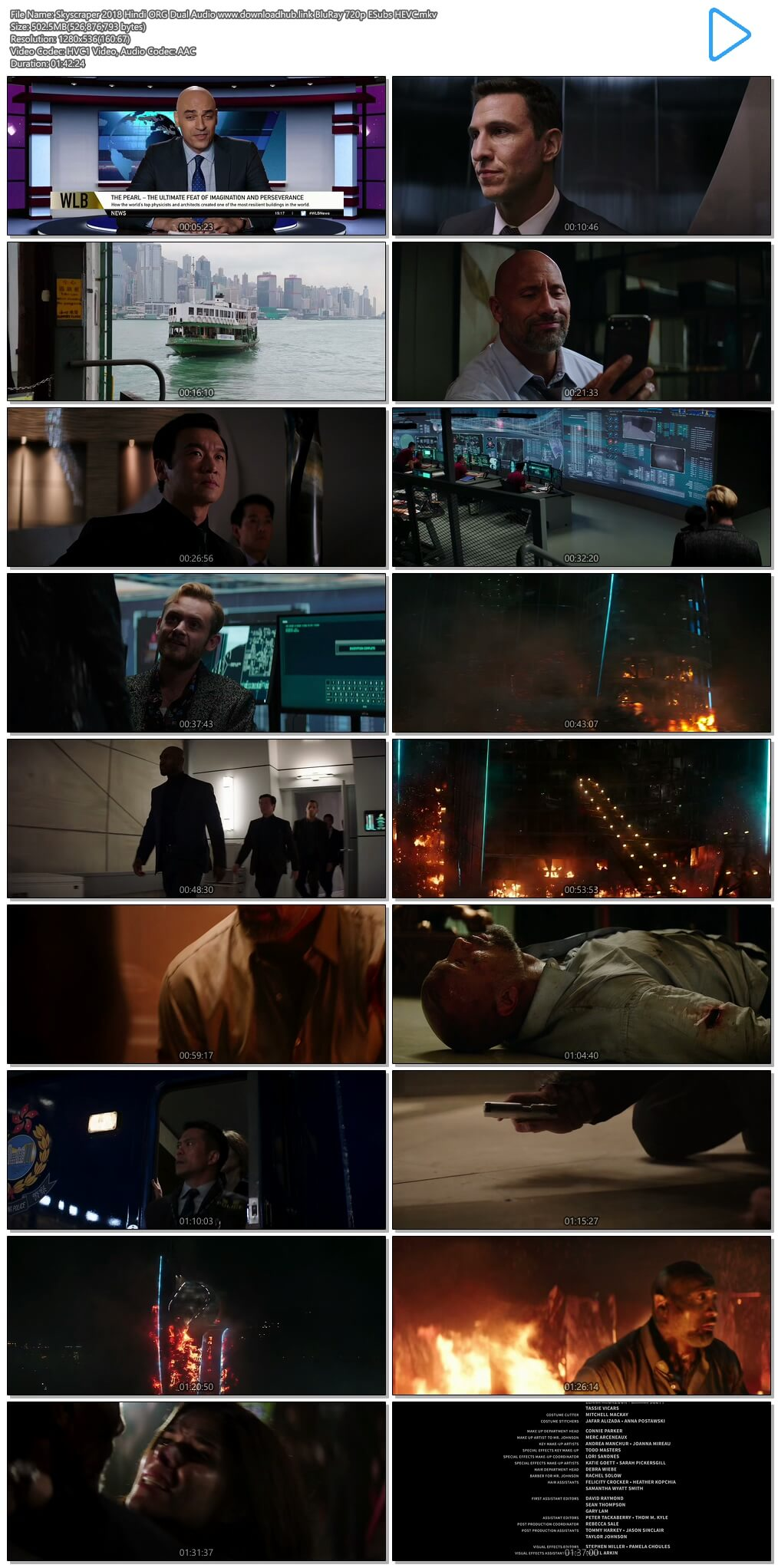 Skyscraper 2018 Hindi ORG Dual Audio 500MB BluRay 720p ESubs HEVC