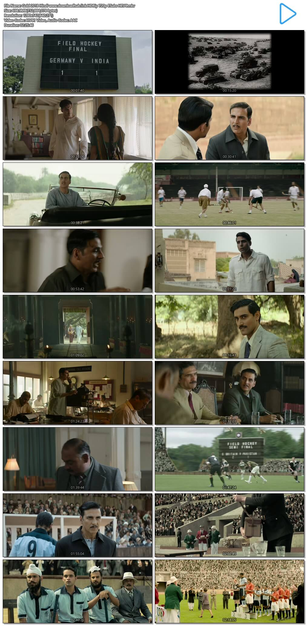 Gold 2018 Hindi 700MB HDRip 720p ESubs HEVC