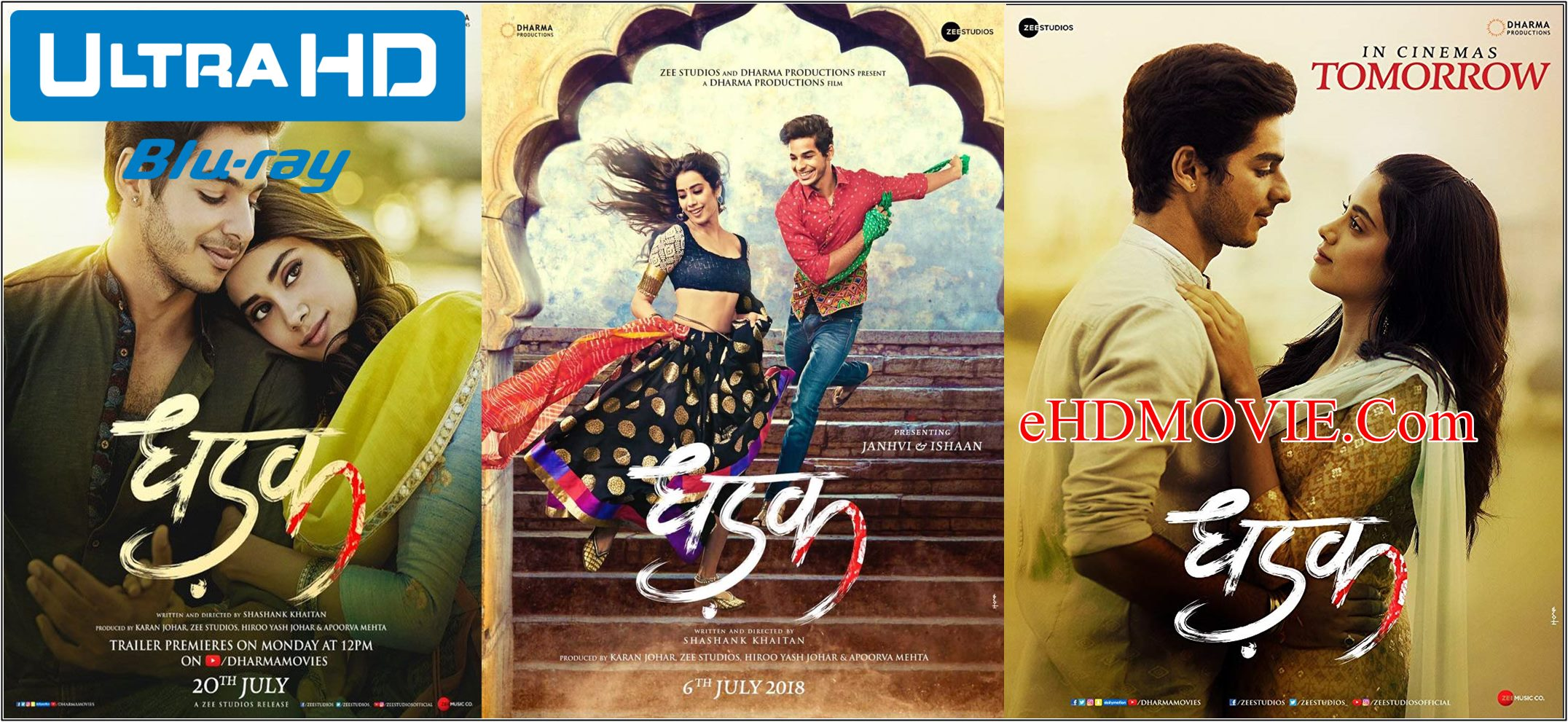 Dhadak 2018 Full Movie Hindi 720p – 480p ORG BRRip 400MB – 1.1GB ESubs Free Download