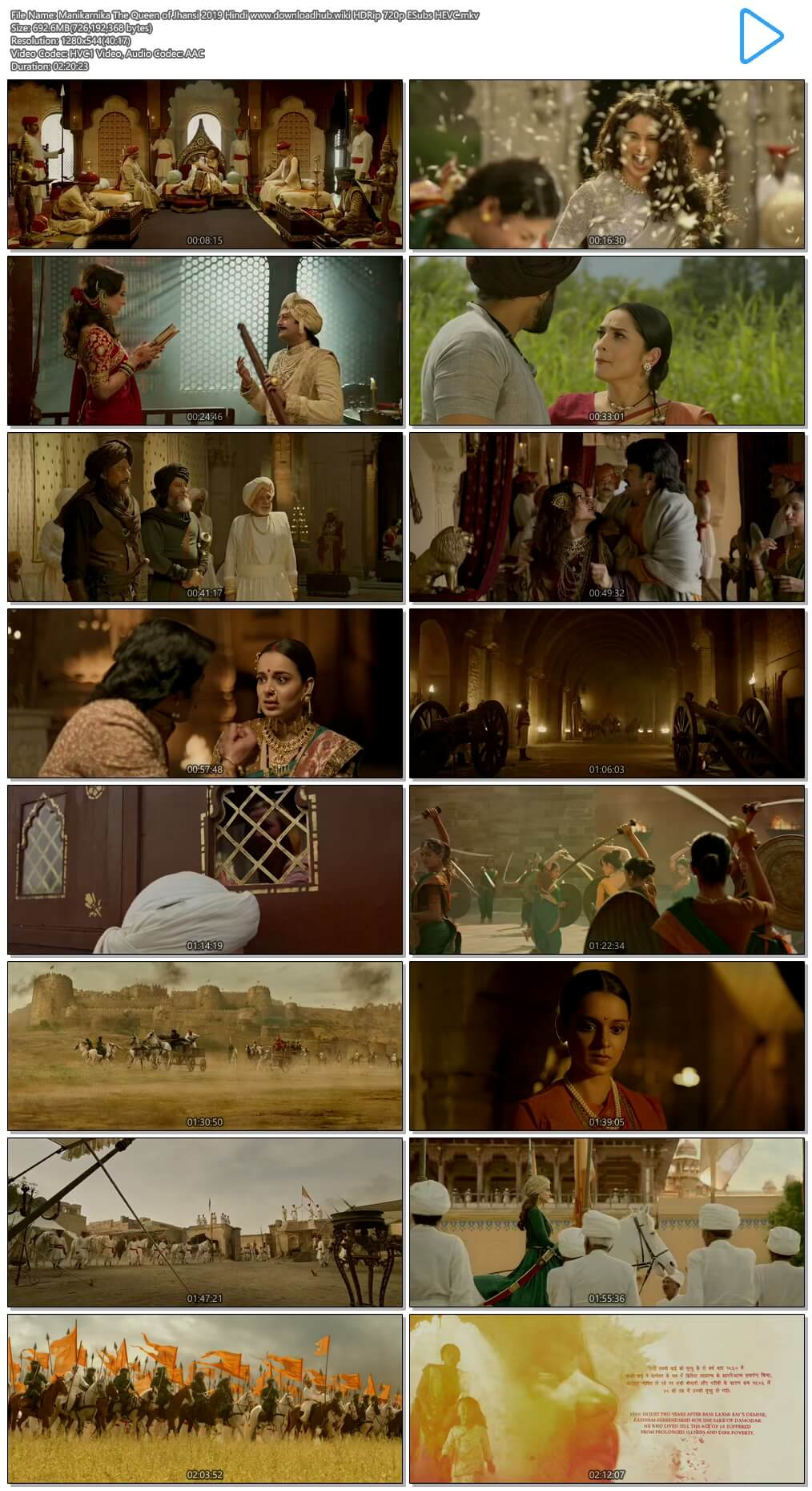 Manikarnika The Queen of Jhansi 2019 Hindi 700MB HDRip 720p ESubs HEVC