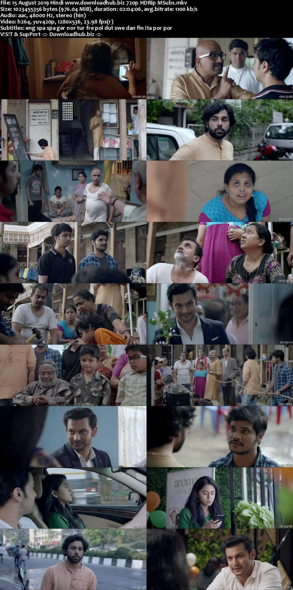 15 August 2019 Hindi 720p HDRip MSubs