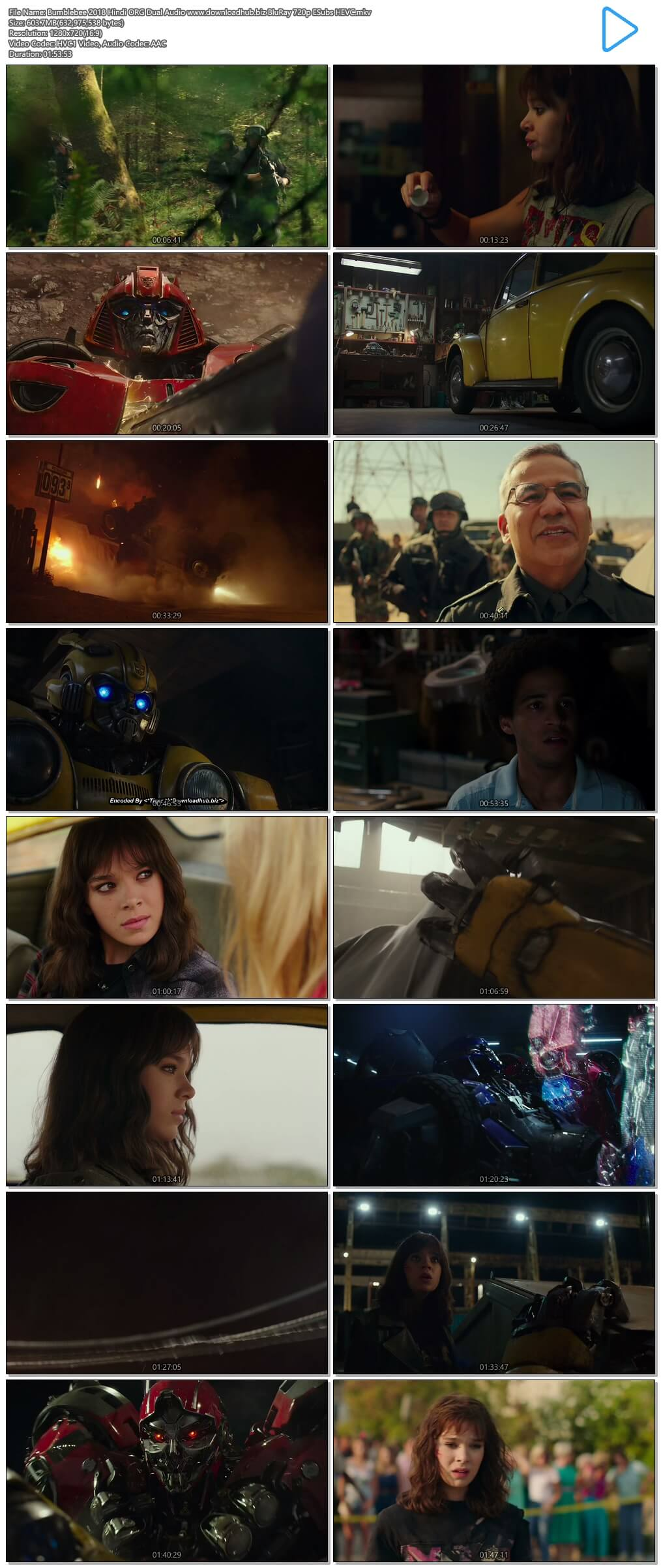 Bumblebee 2018 Hindi ORG Dual Audio 600MB BluRay 720p ESubs HEVC