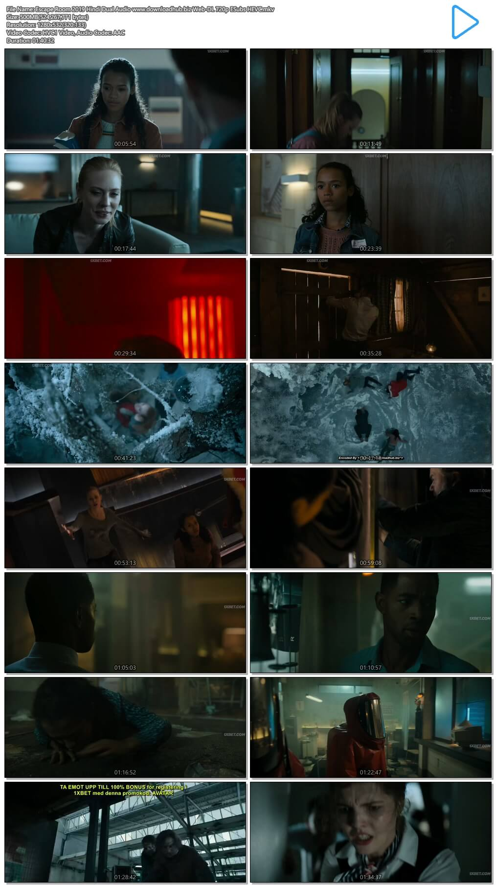 Escape Room 2019 Hindi Dual Audio 500MB Web-DL 720p ESubs HEVC