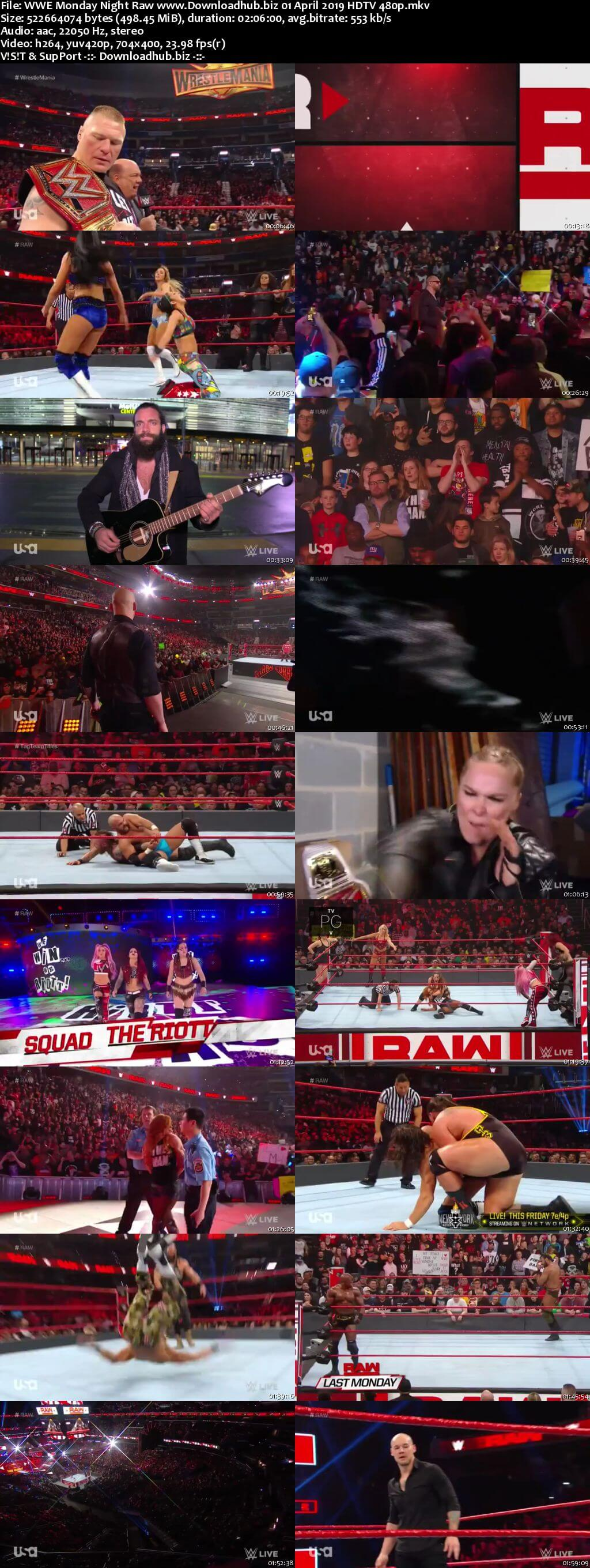 WWE Monday Night Raw 1st April 2019 500MB HDTVRip 480p