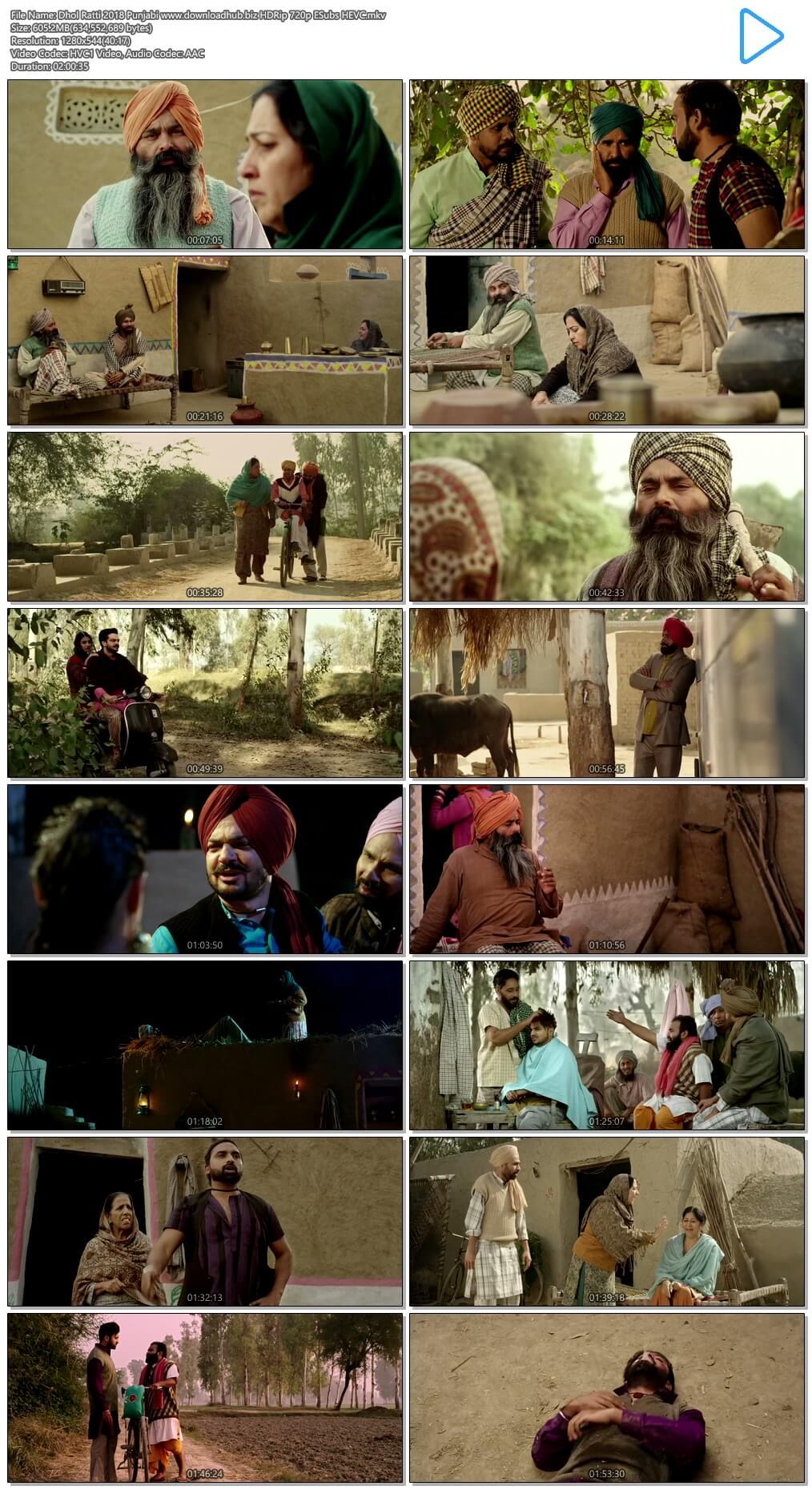 Dhol Ratti 2018 Punjabi 600MB HDRip 720p ESubs HEVC
