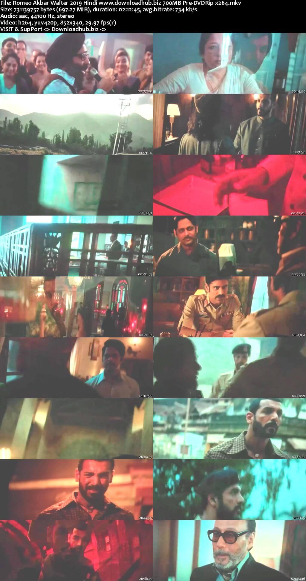 Romeo Akbar Walter 2019 Hindi 700MB Pre-DVDRip x264