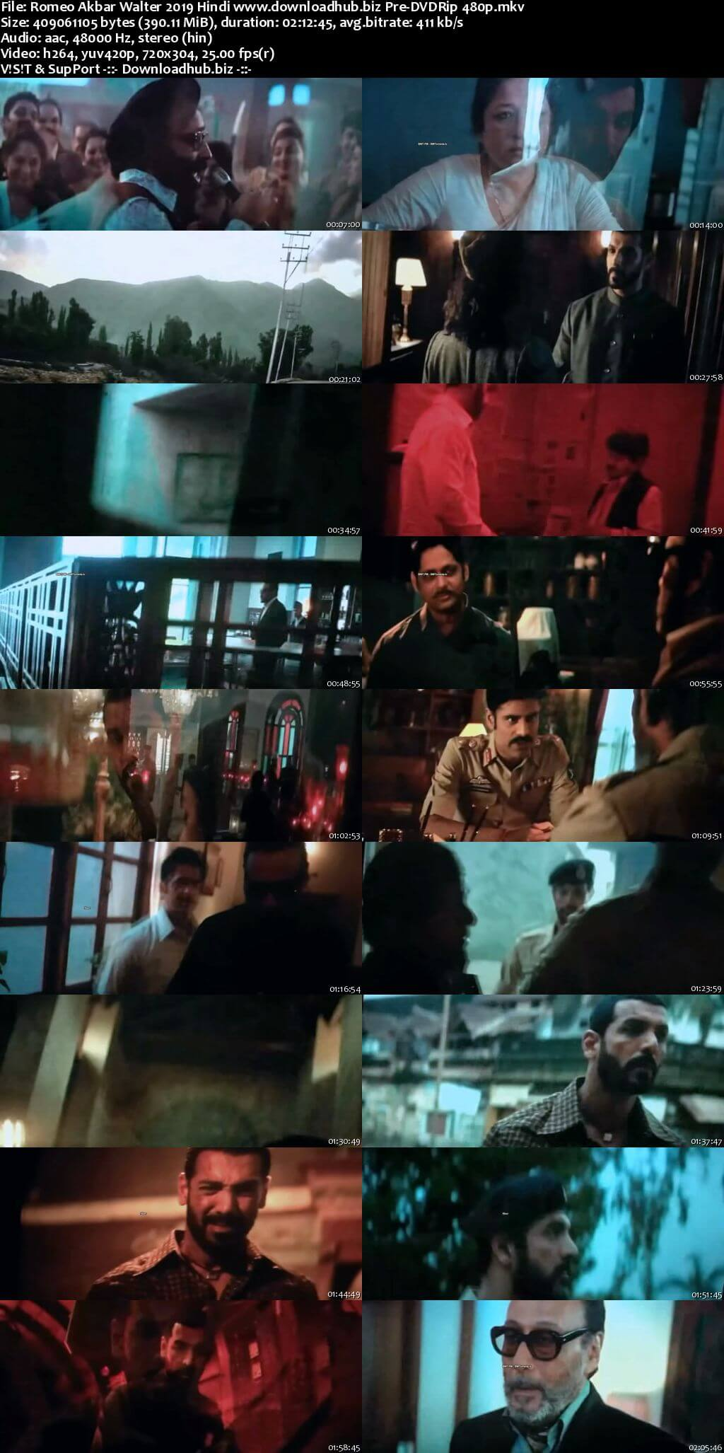 Romeo Akbar Walter 2019 Hindi 350MB Pre-DVDRip 480p