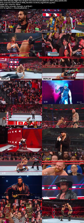 WWE Monday Night Raw 8th April 2019 500MB HDTVRip 480p