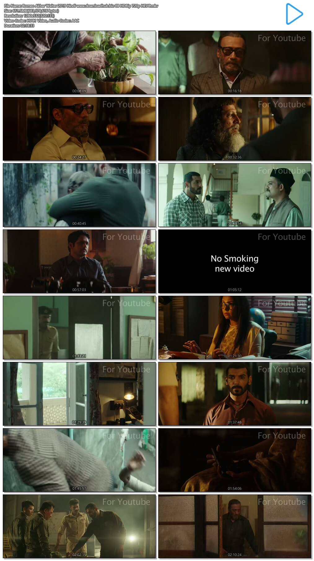 Romeo Akbar Walter 2019 Hindi 650MB CB HDRip 720p HEVC