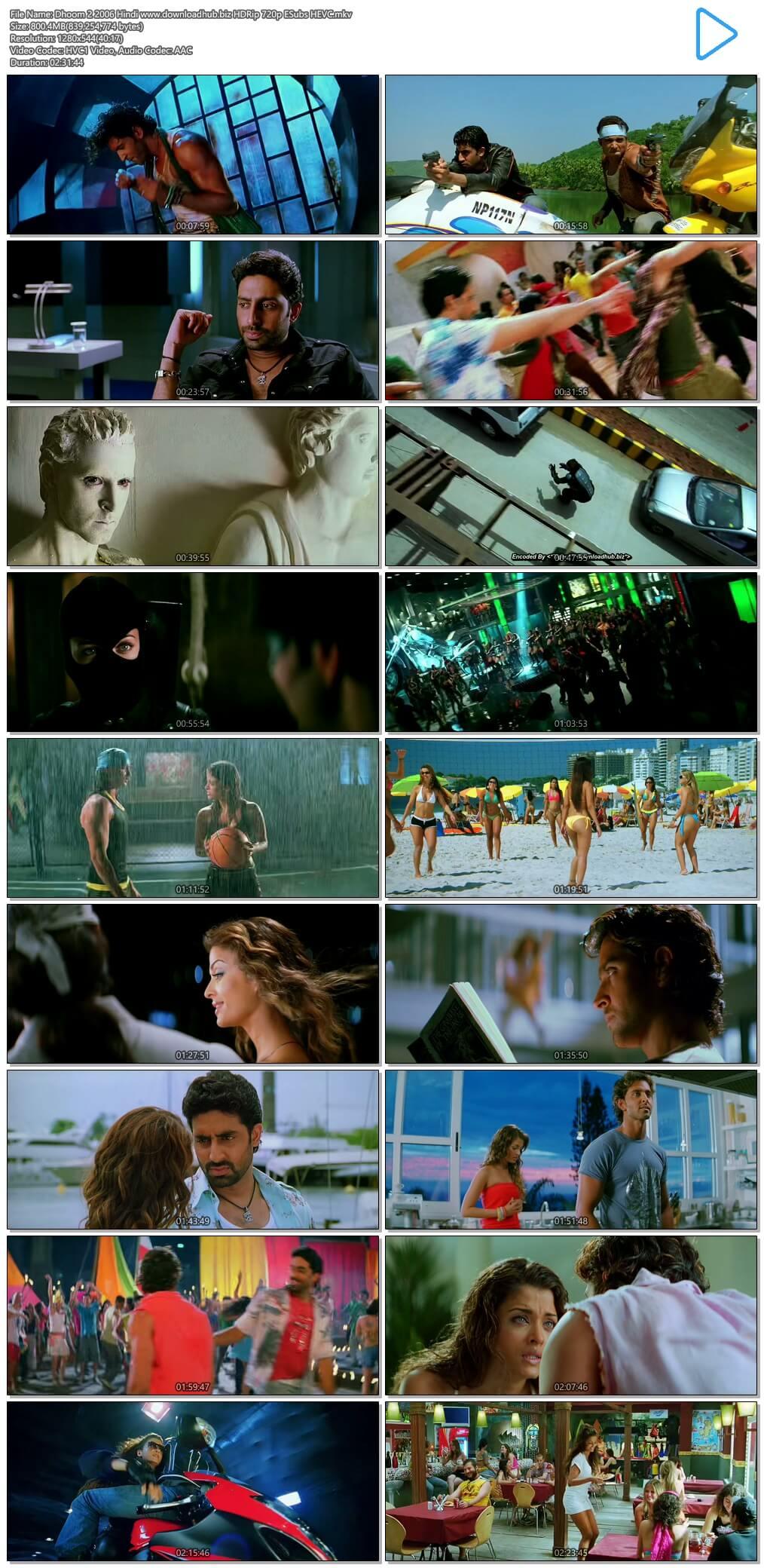 Dhoom 2 2006 Hindi 700MB BluRay 720p ESubs HEVC