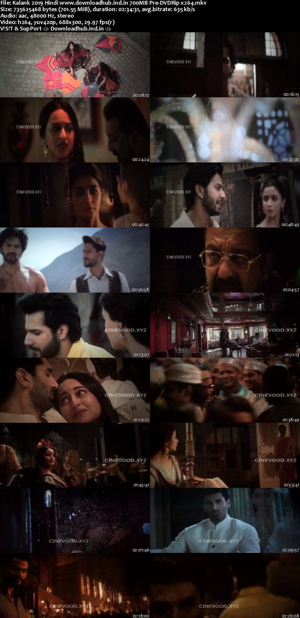 Kalank 2019 Hindi 700MB Pre-DVDRip x264