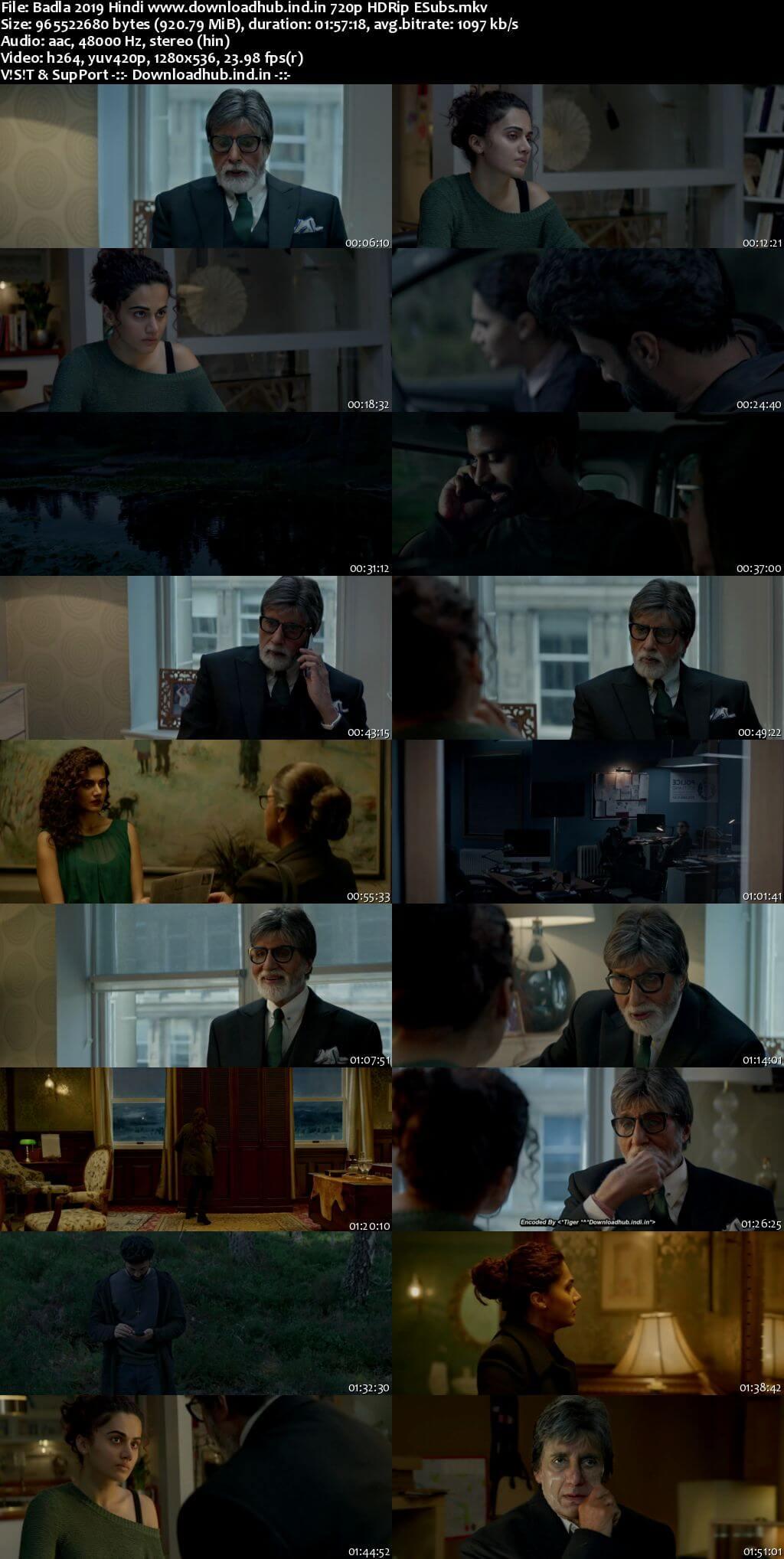 Badla 2019 Hindi 720p HDRip ESubs