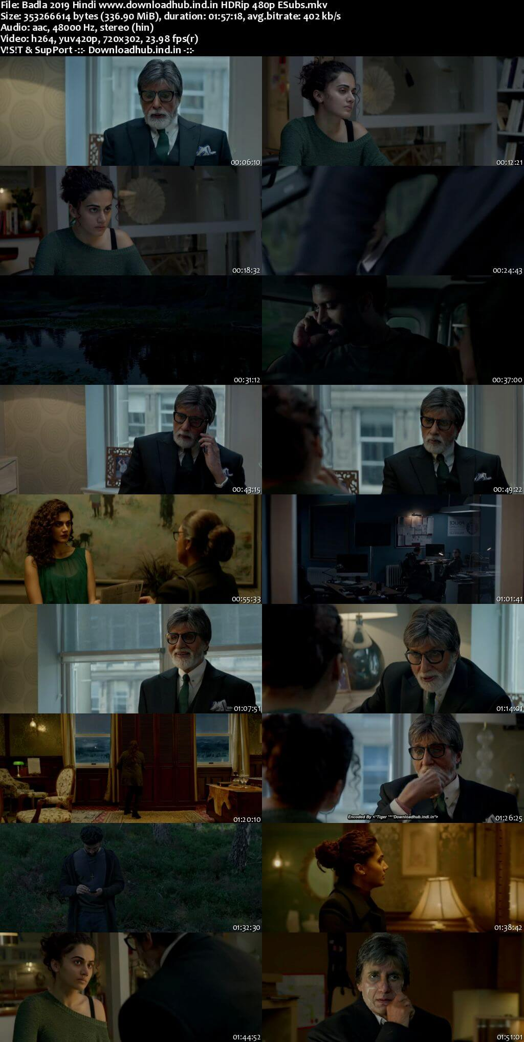 Badla 2019 Hindi 300MB HDRip 480p ESubs