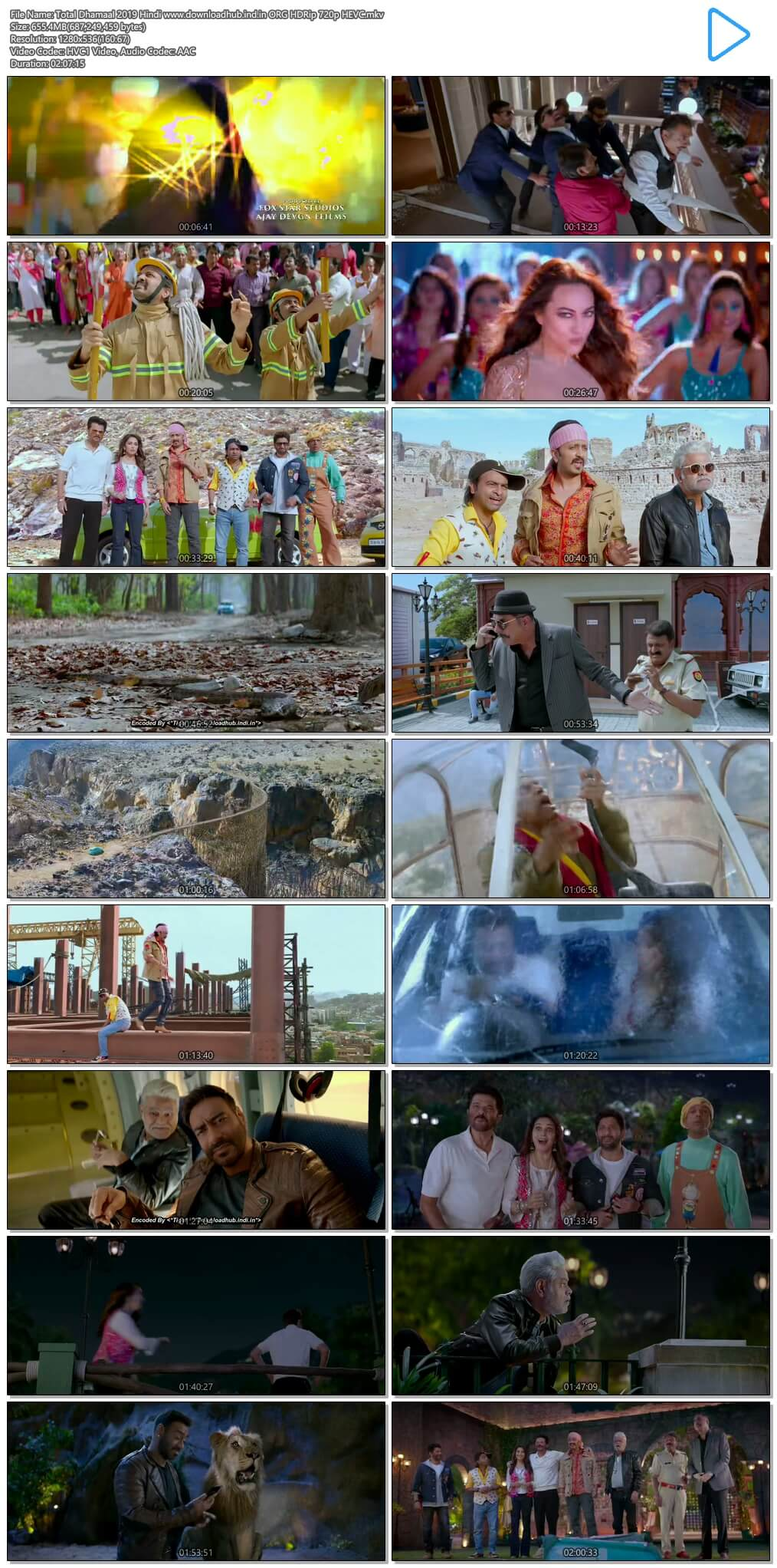 Total Dhamaal 2019 Hindi 650MB ORG HDRip 720p HEVC
