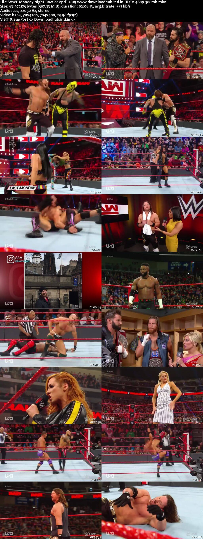 WWE Monday Night Raw 22nd April 2019 500MB HDTVRip 480p
