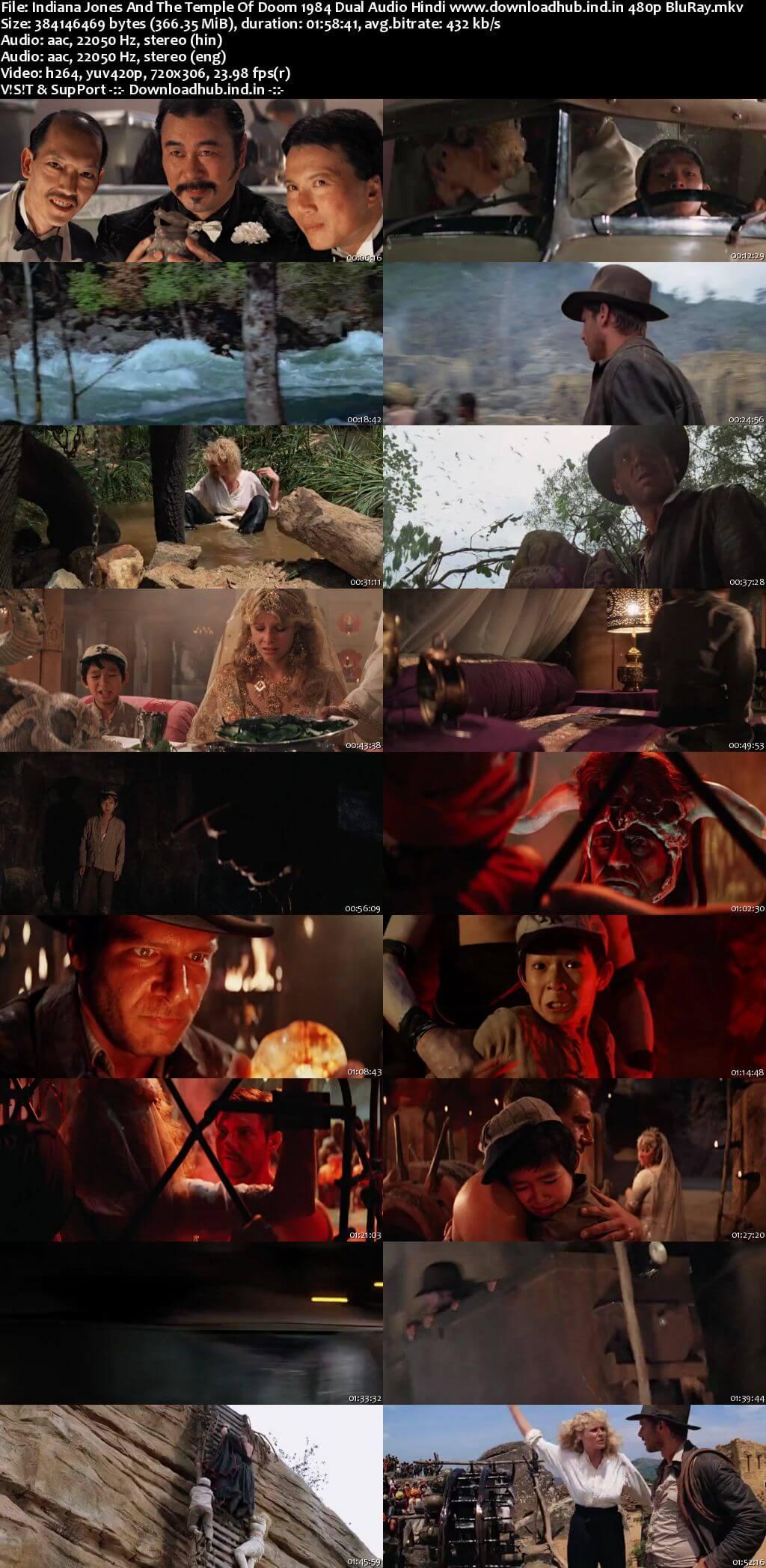 Indiana Jones and the Temple of Doom 1984 Hindi Dual Audio 350MB BluRay 480p ESubs