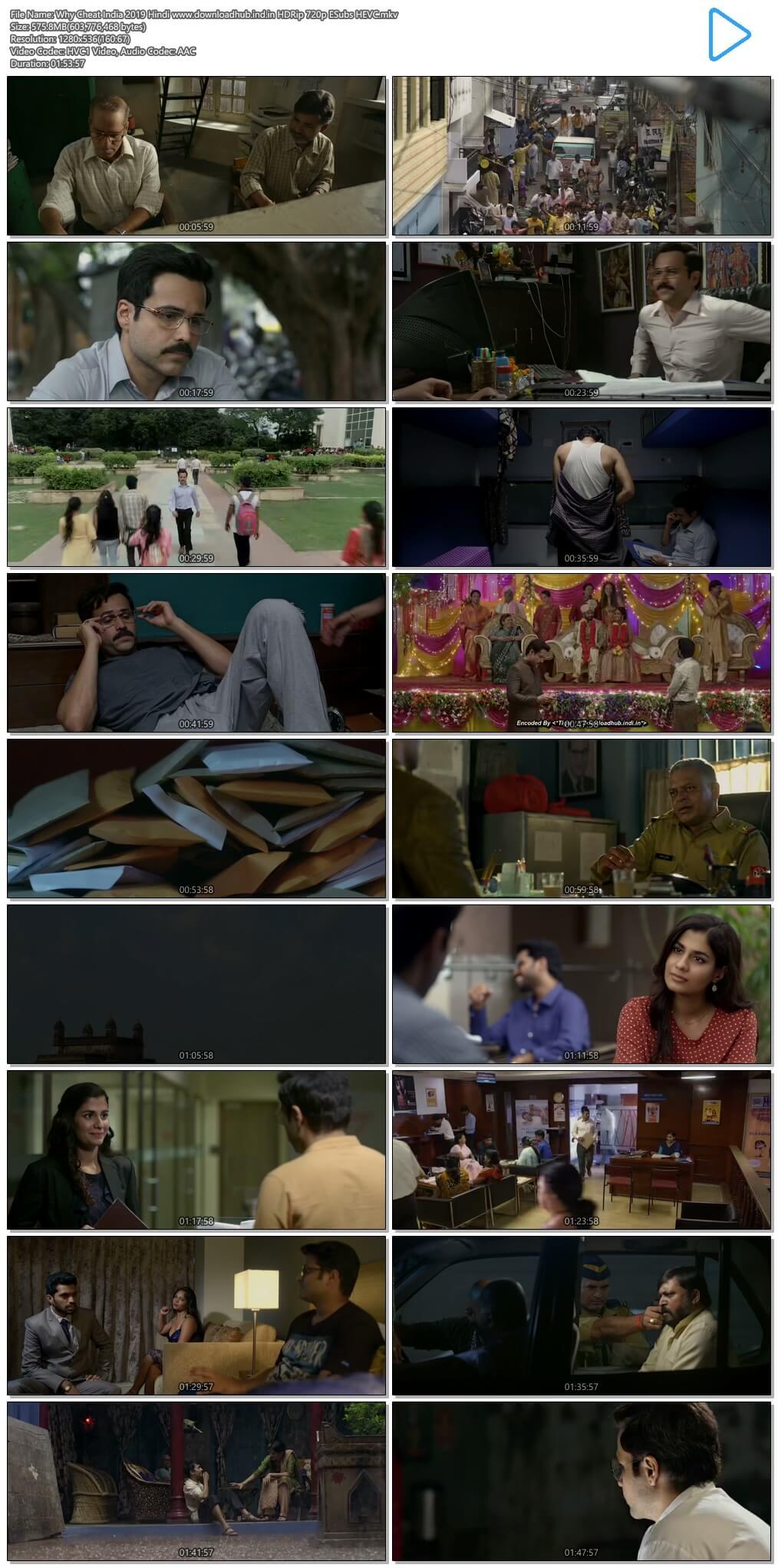 Why Cheat India 2019 Hindi 550MB HDRip 720p ESubs HEVC