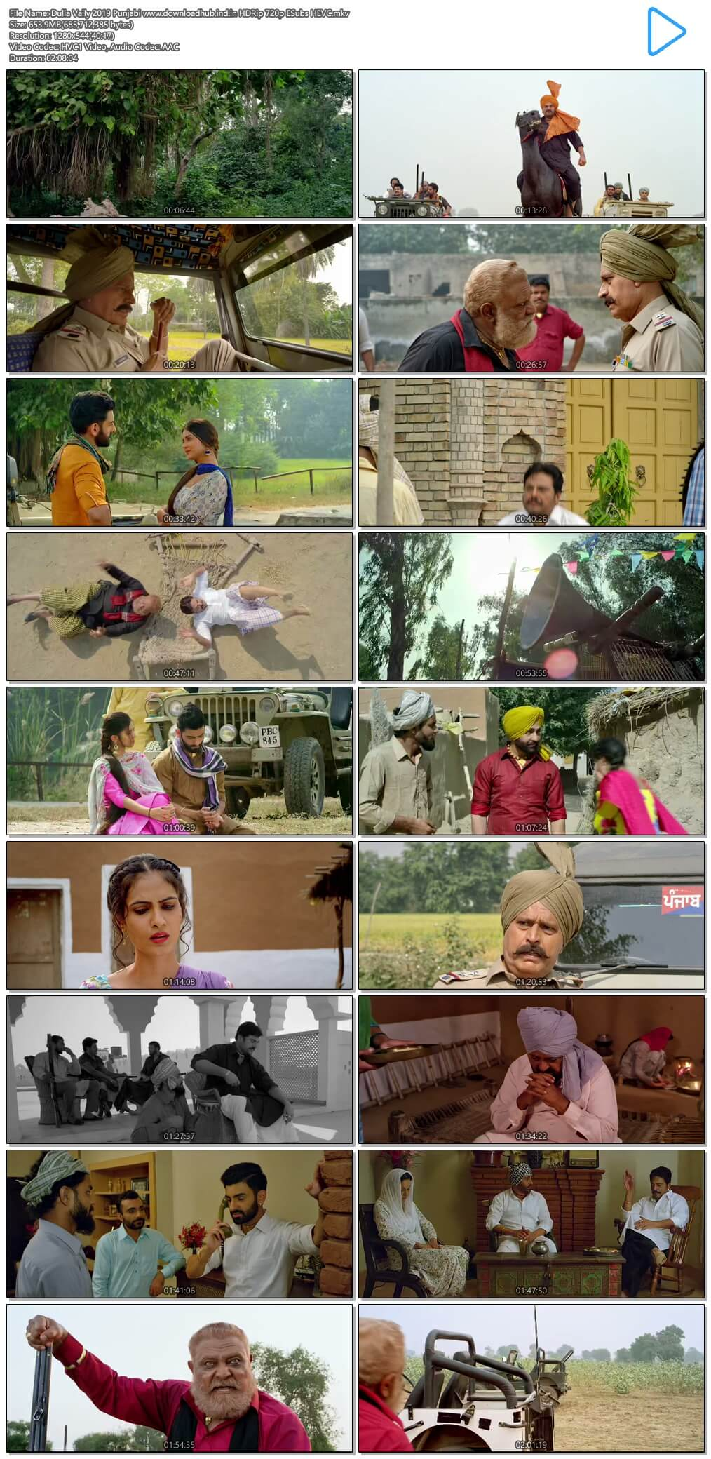 Dulla Vaily 2019 Punjabi 650MB HDRip 720p ESubs HEVC