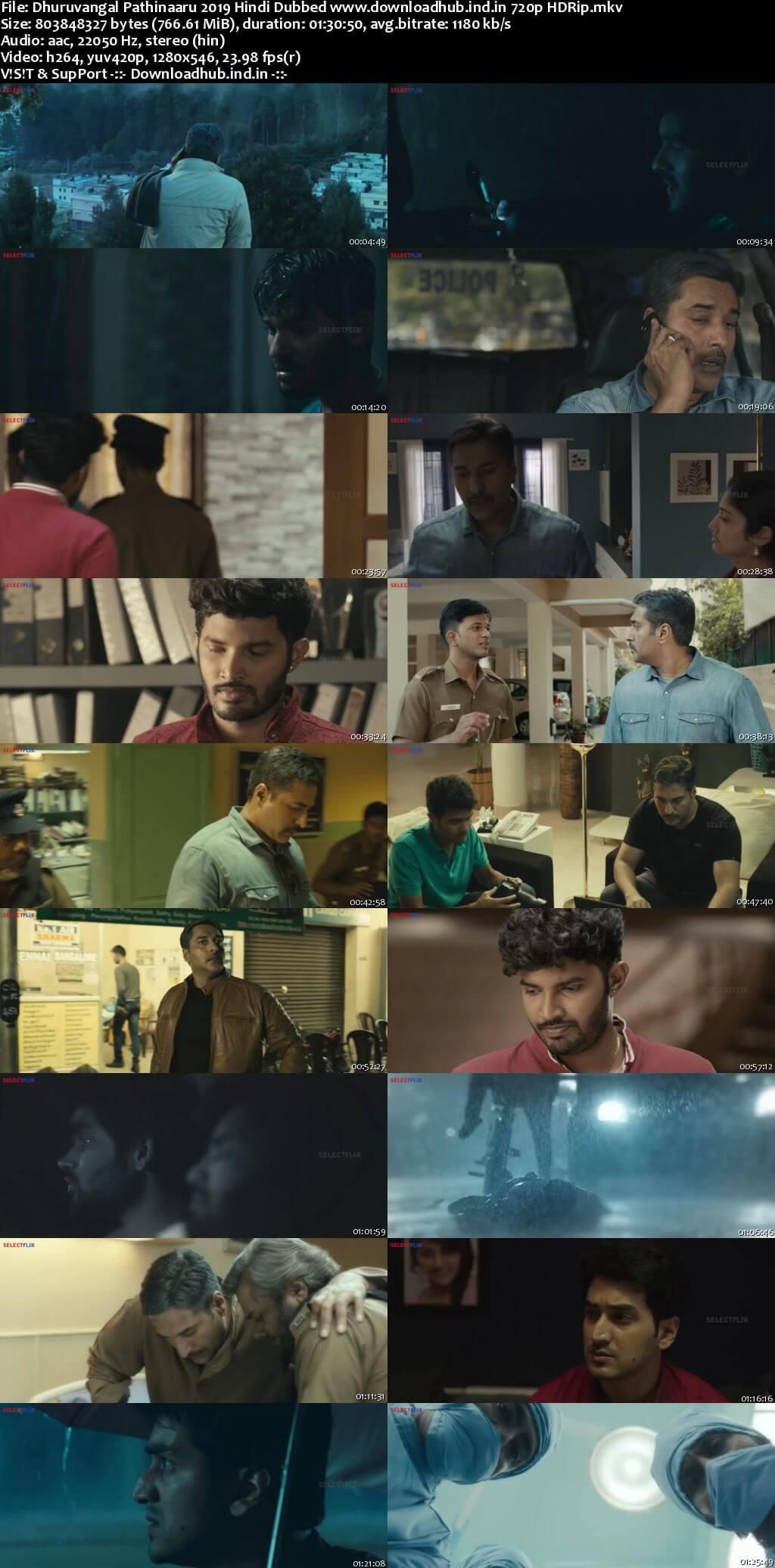 Dhuruvangal Pathinaaru 2019 Hindi Dubbed 720p HDRip x264
