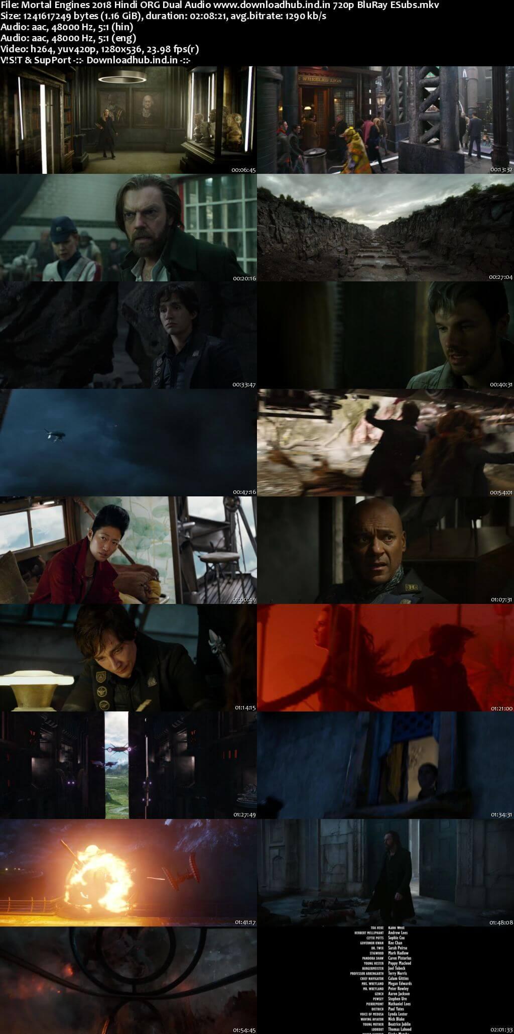 Mortal Engines 2018 Hindi ORG Dual Audio 720p BluRay ESubs