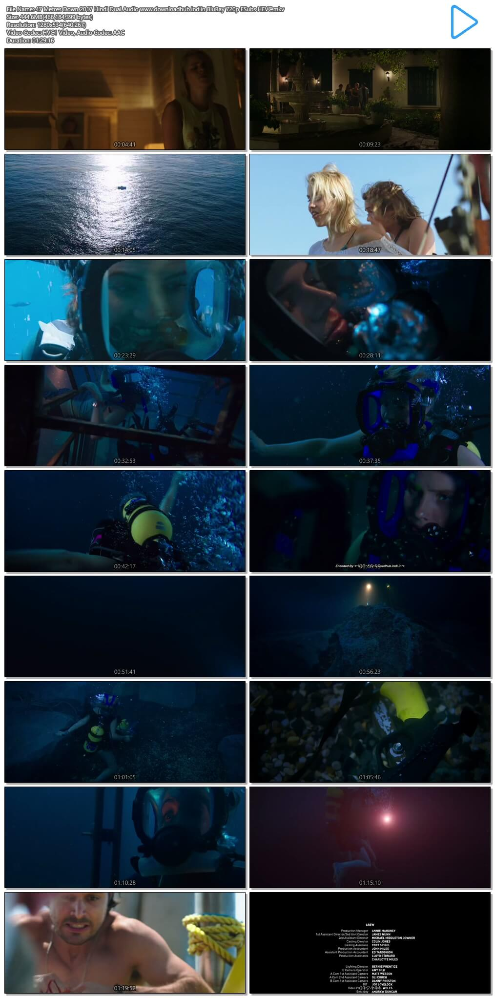 47 Metres Down 2017 Hindi Dual Audio 450MB BluRay 720p ESubs HEVC