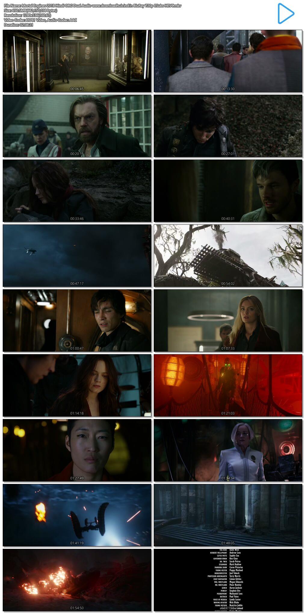 Mortal Engines 2018 Hindi ORG Dual Audio 650MB BluRay 720p ESubs HEVC