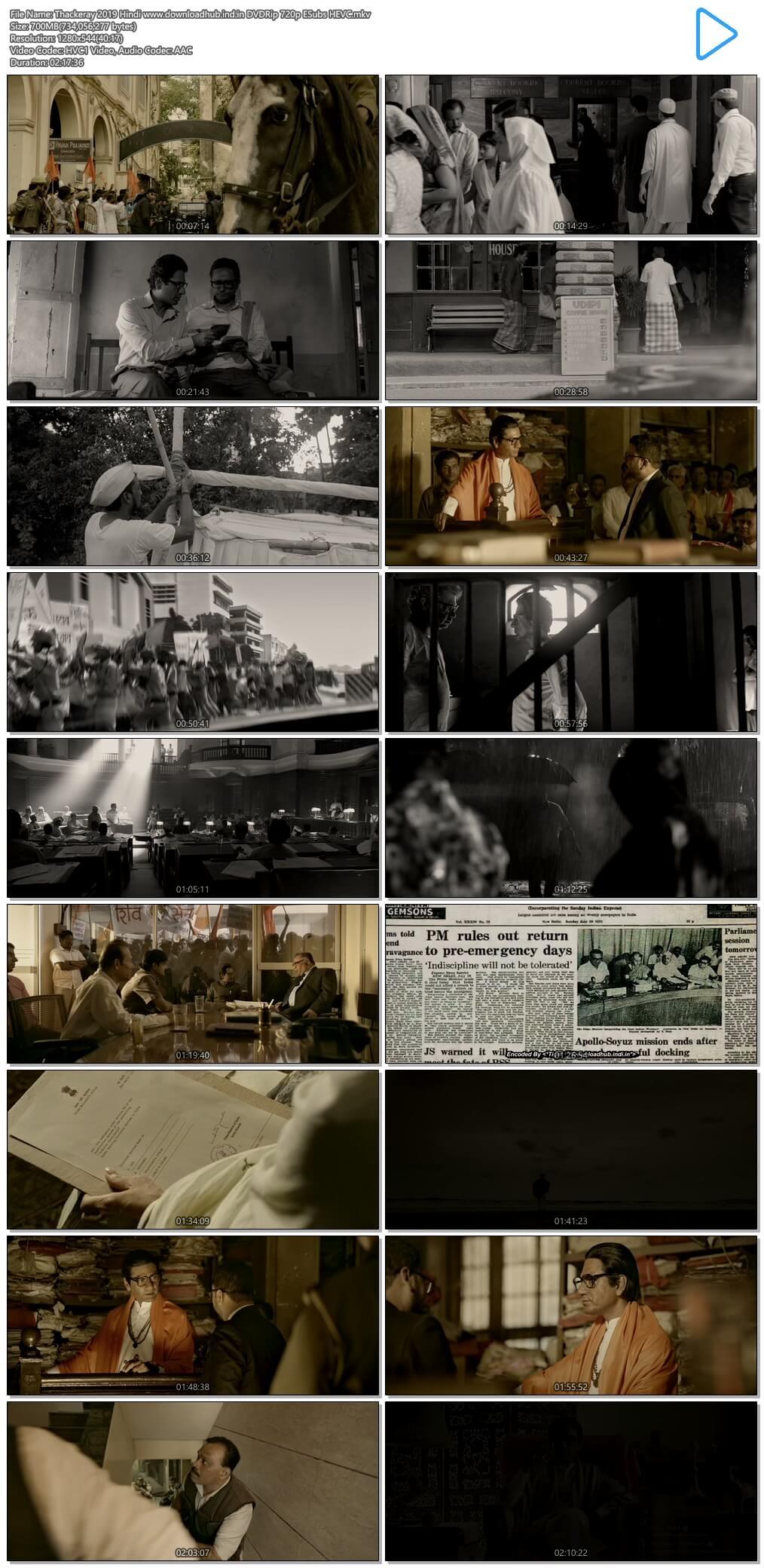Thackeray 2019 Hindi 700MB DVDRip 720p ESubs HEVC