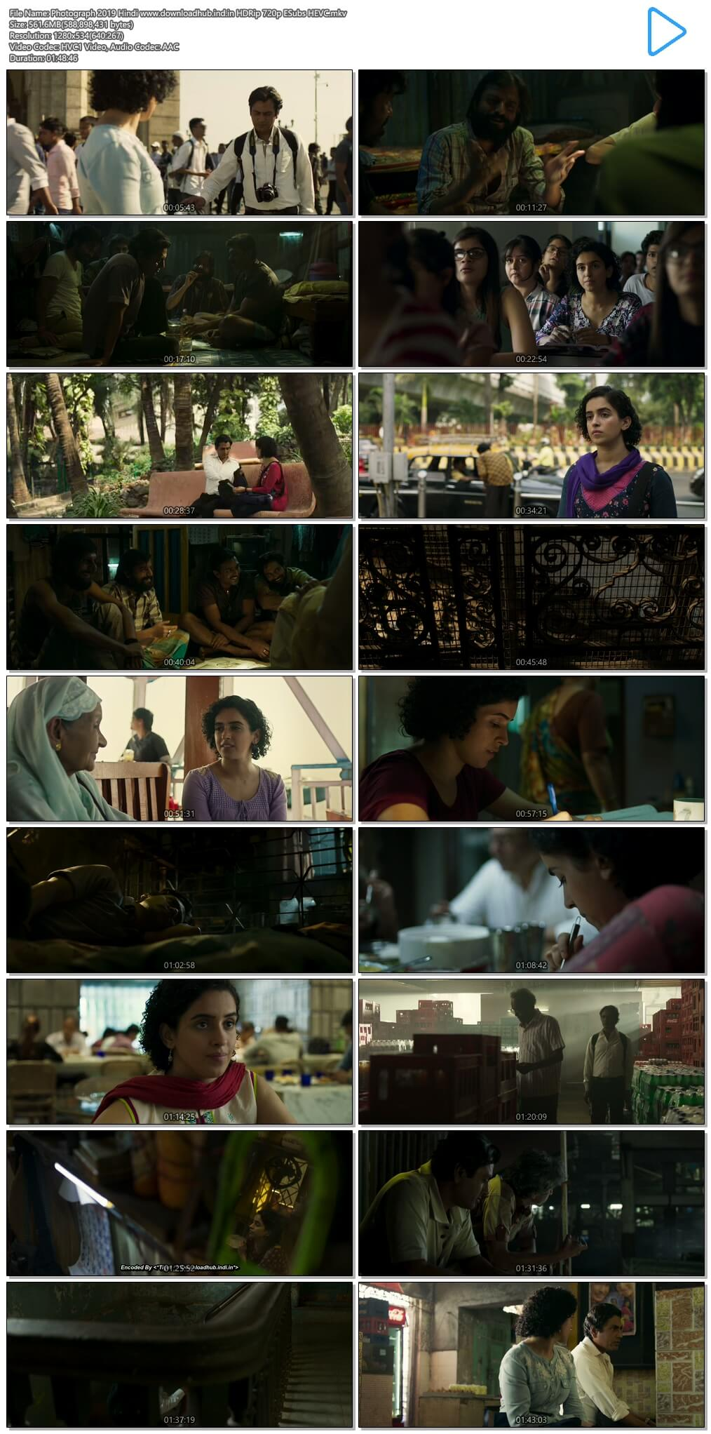 Photograph 2019 Hindi 550MB HDRip 720p ESubs HEVC