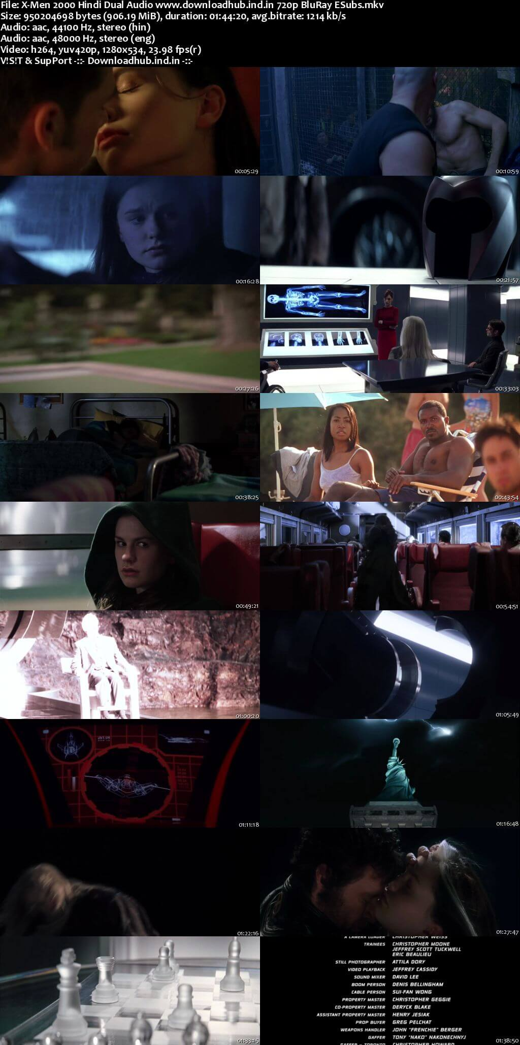 X-Men 2000 Hindi Dual Audio 720p BluRay ESubs
