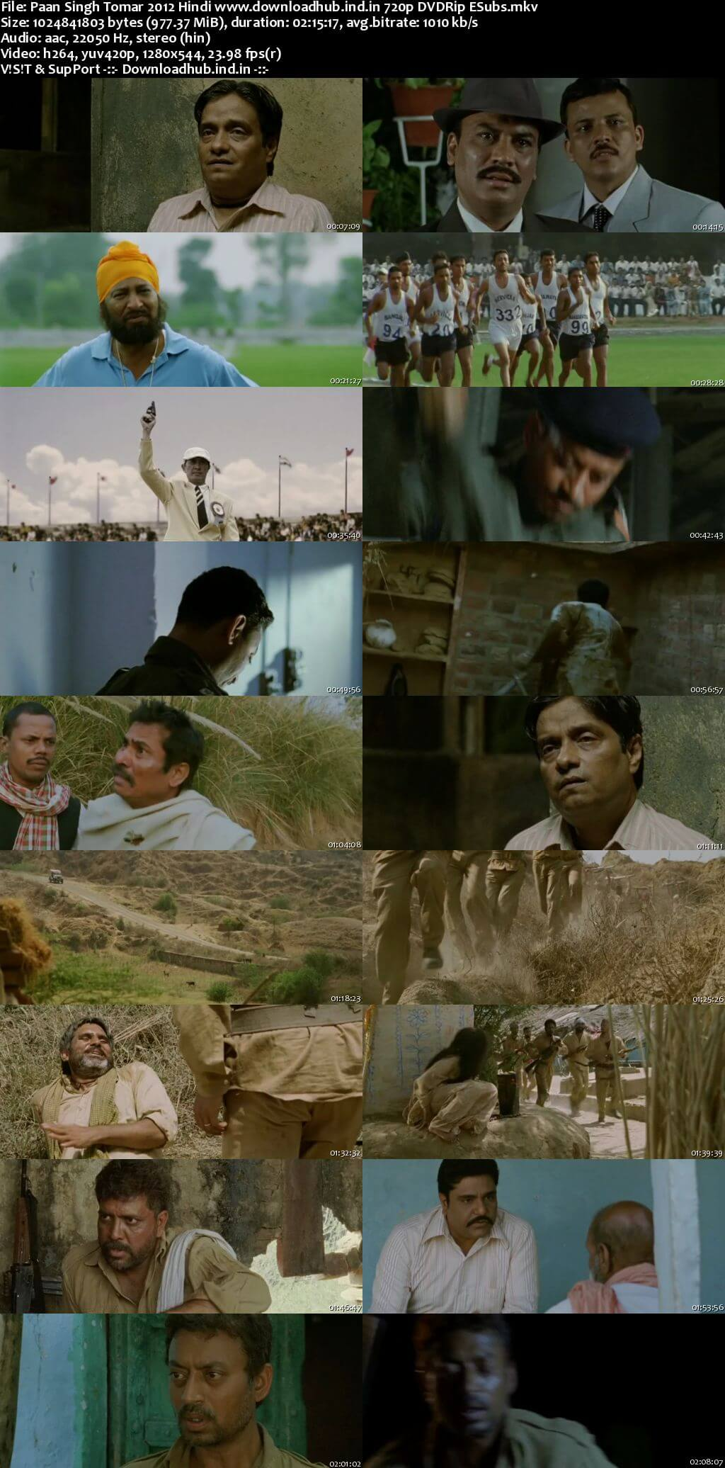 Paan Singh Tomar 2012 Hindi 720p DVDRip ESubs