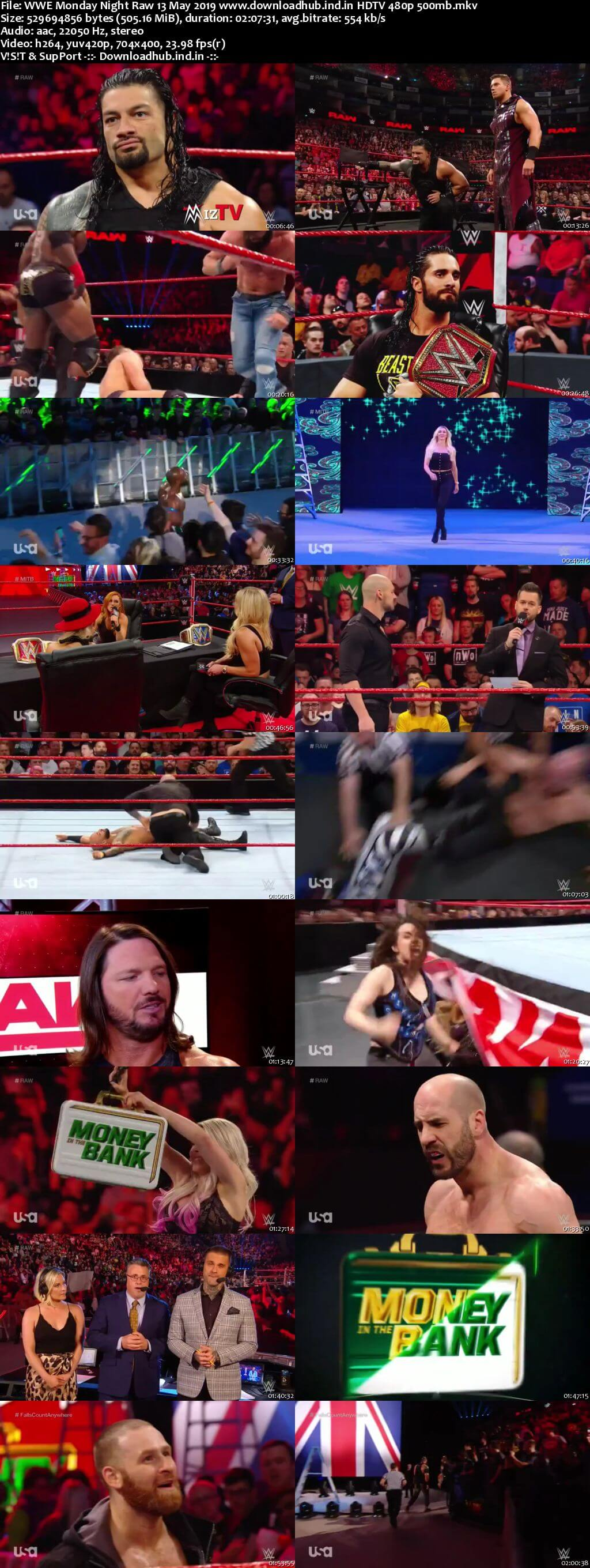 WWE Monday Night Raw 13th May 2019 500MB HDTVRip 480p