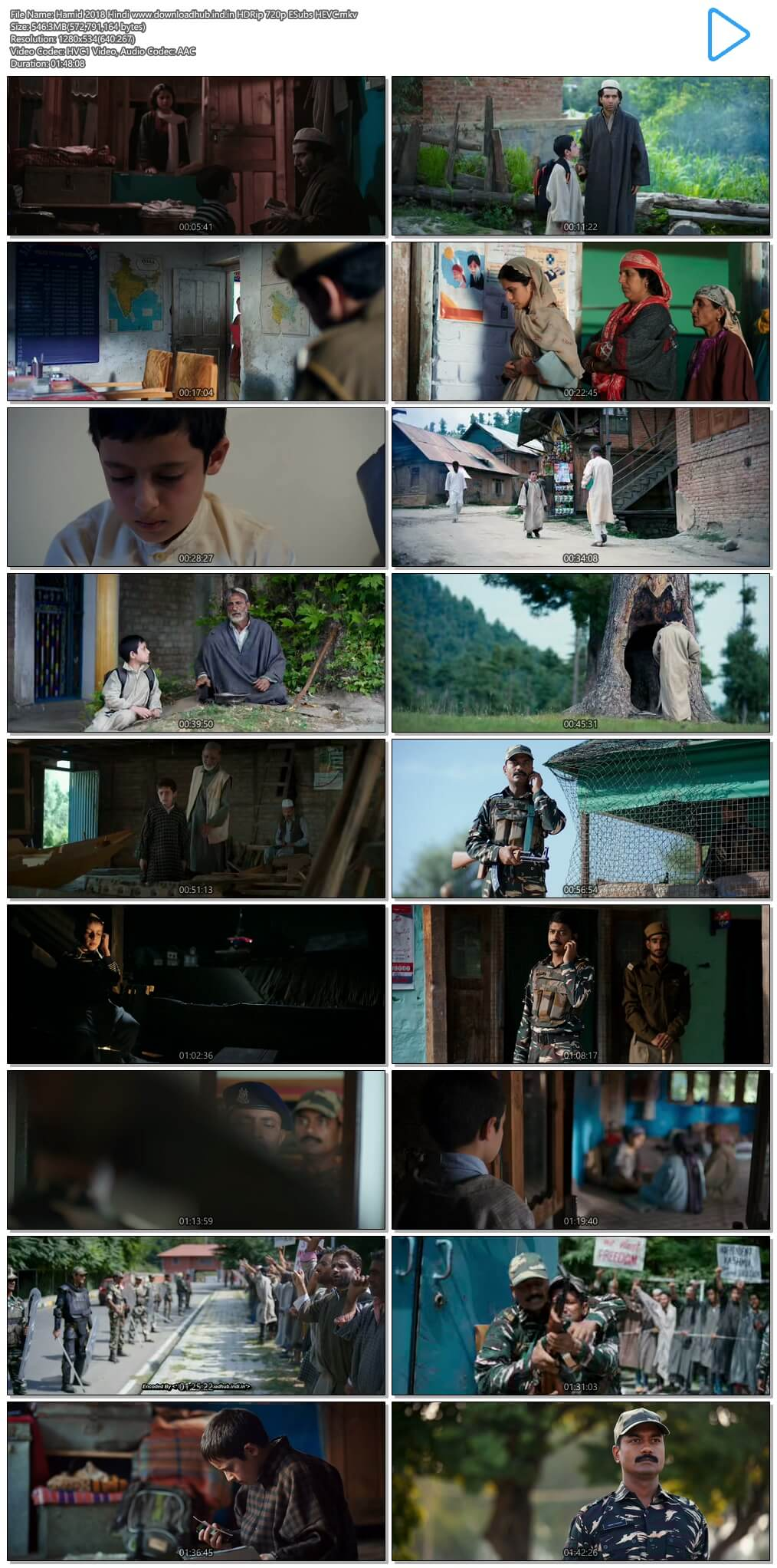 Hamid 2018 Hindi 550MB HDRip 720p ESubs HEVC