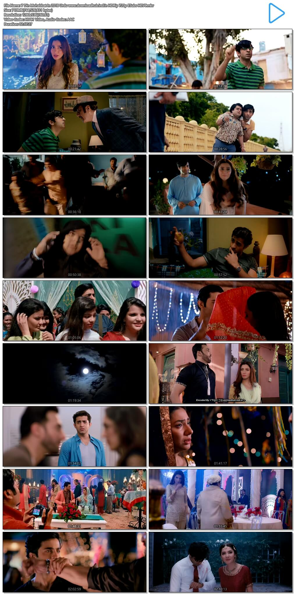 7 Din Mohabbat In 2018 Urdu 700MB HDRip 720p ESubs HEVC