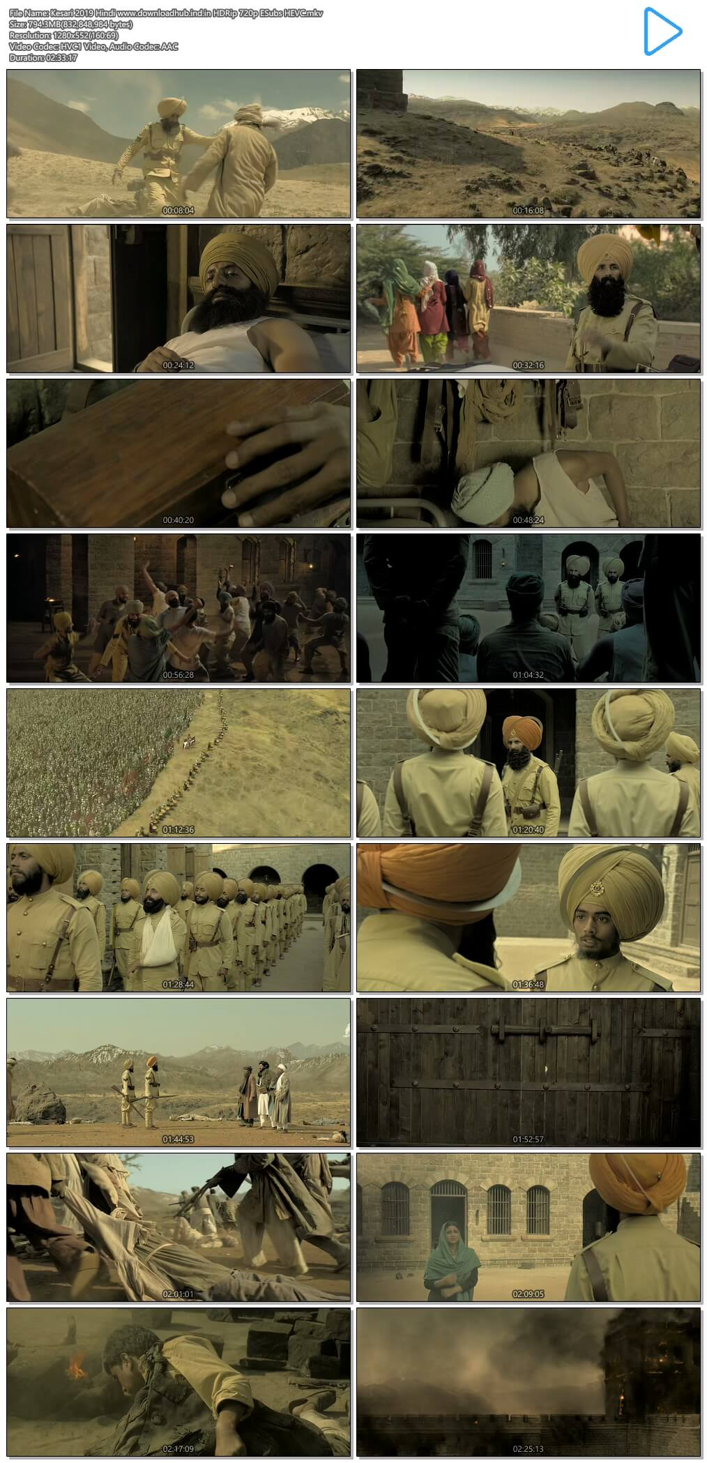 Kesari 2019 Hindi 800MB HDRip 720p ESubs HEVC