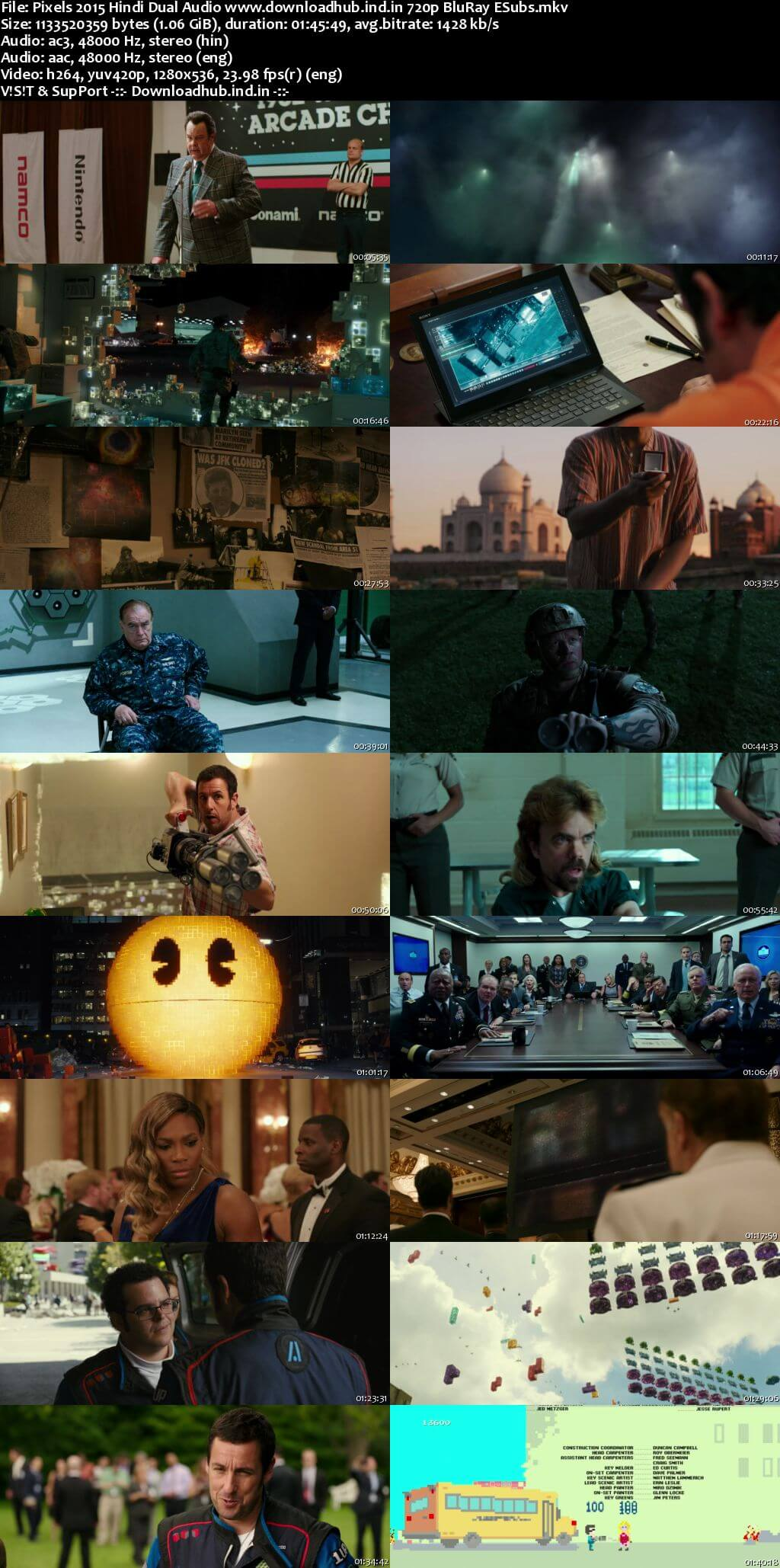 Pixels 2015 Hindi Dual Audio 720p BluRay ESubs
