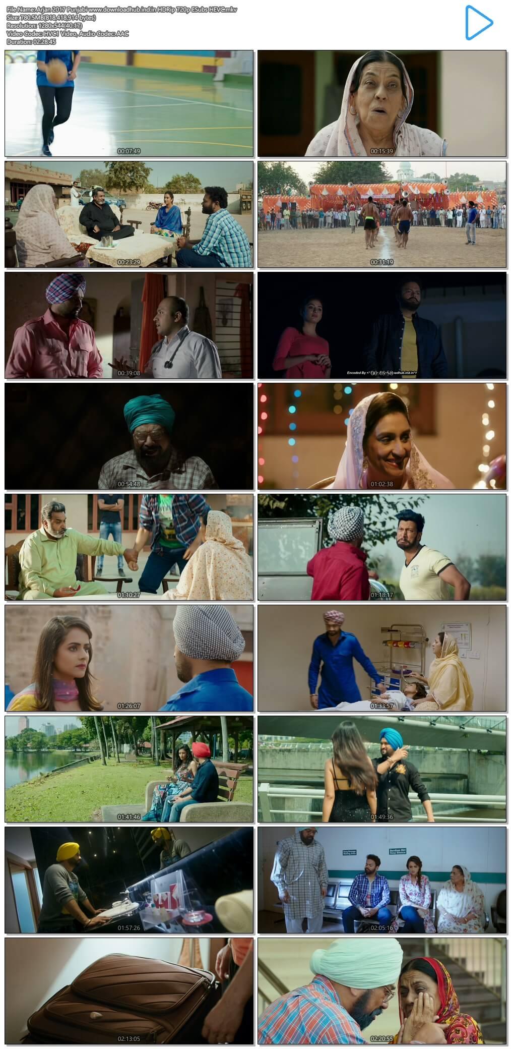 Arjan 2017 Punjabi 750MB HDRip 720p ESubs HEVC