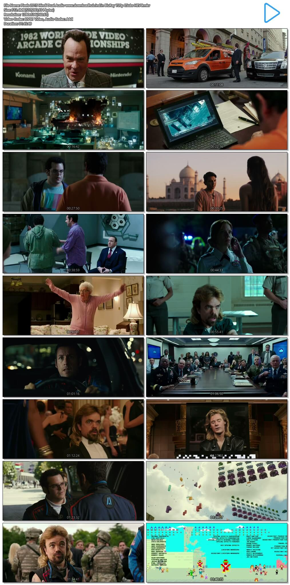 Pixels 2015 Hindi Dual Audio 500MB BluRay 720p ESubs HEVC